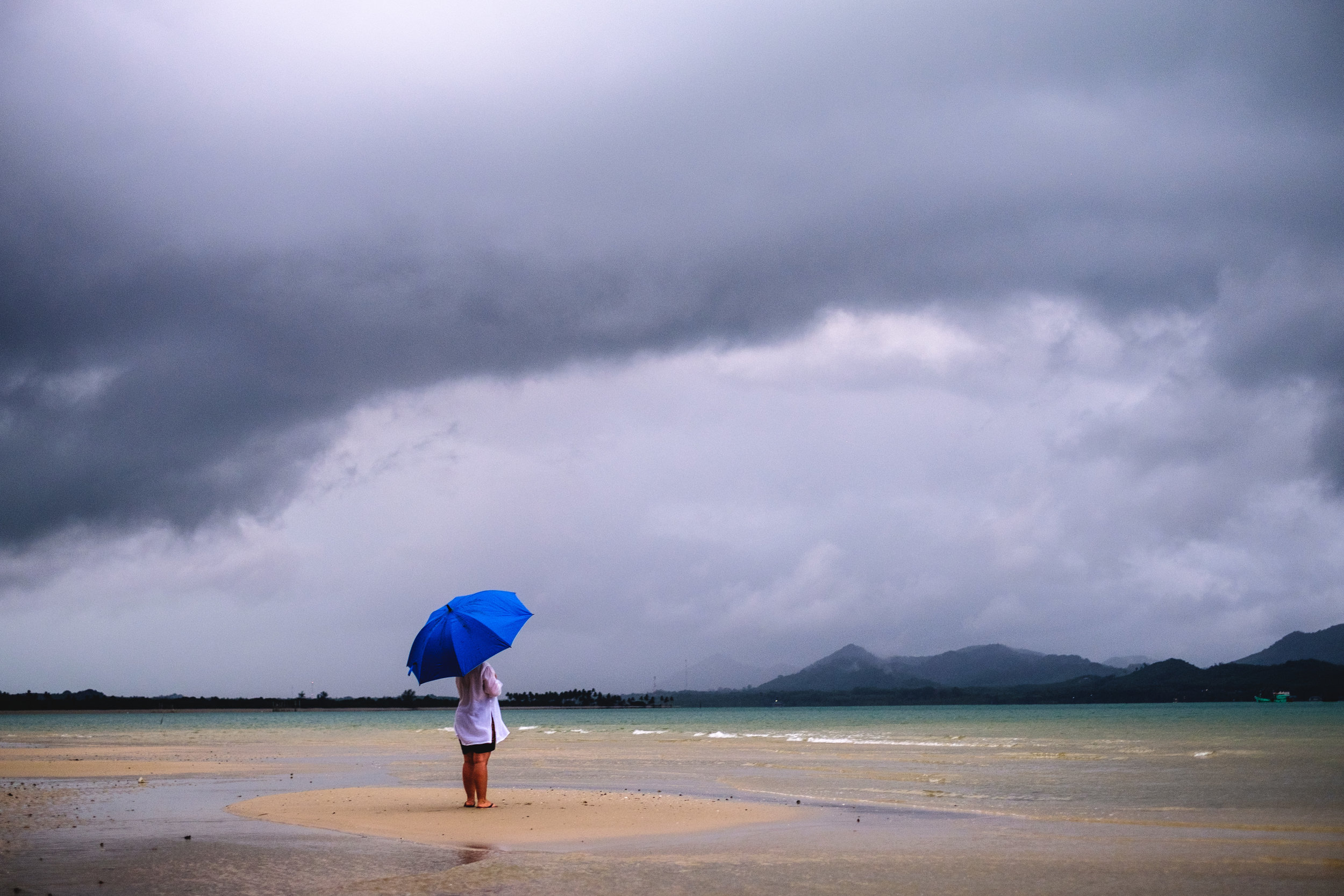 Di watching a thunderstorm roll in on the beach at Koh Yao Yai in Thailand