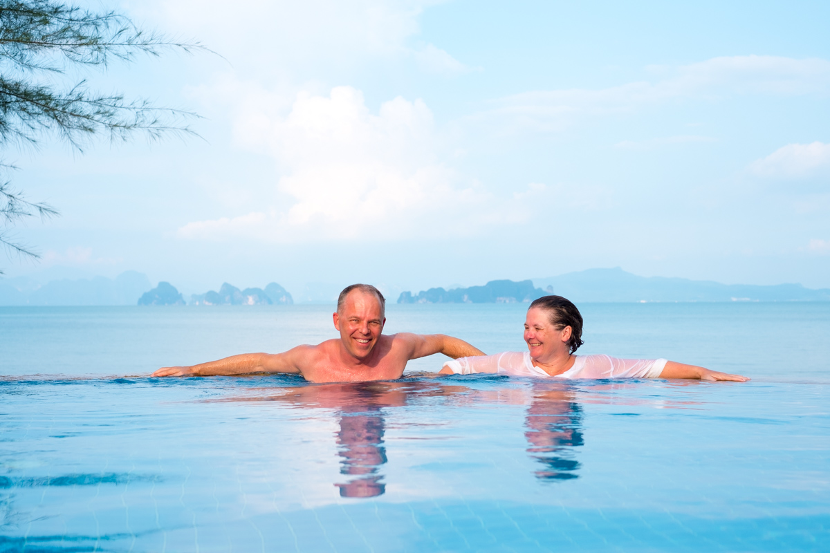 Try to wipe those smiles off :) The pool at the Thiwson Beach Resort at Koh Yao Yai, Thailand