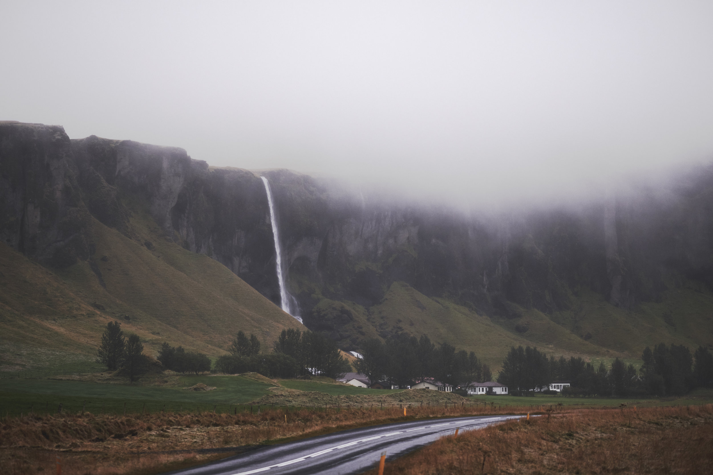 Waterfall along Highway 1 in Iceland