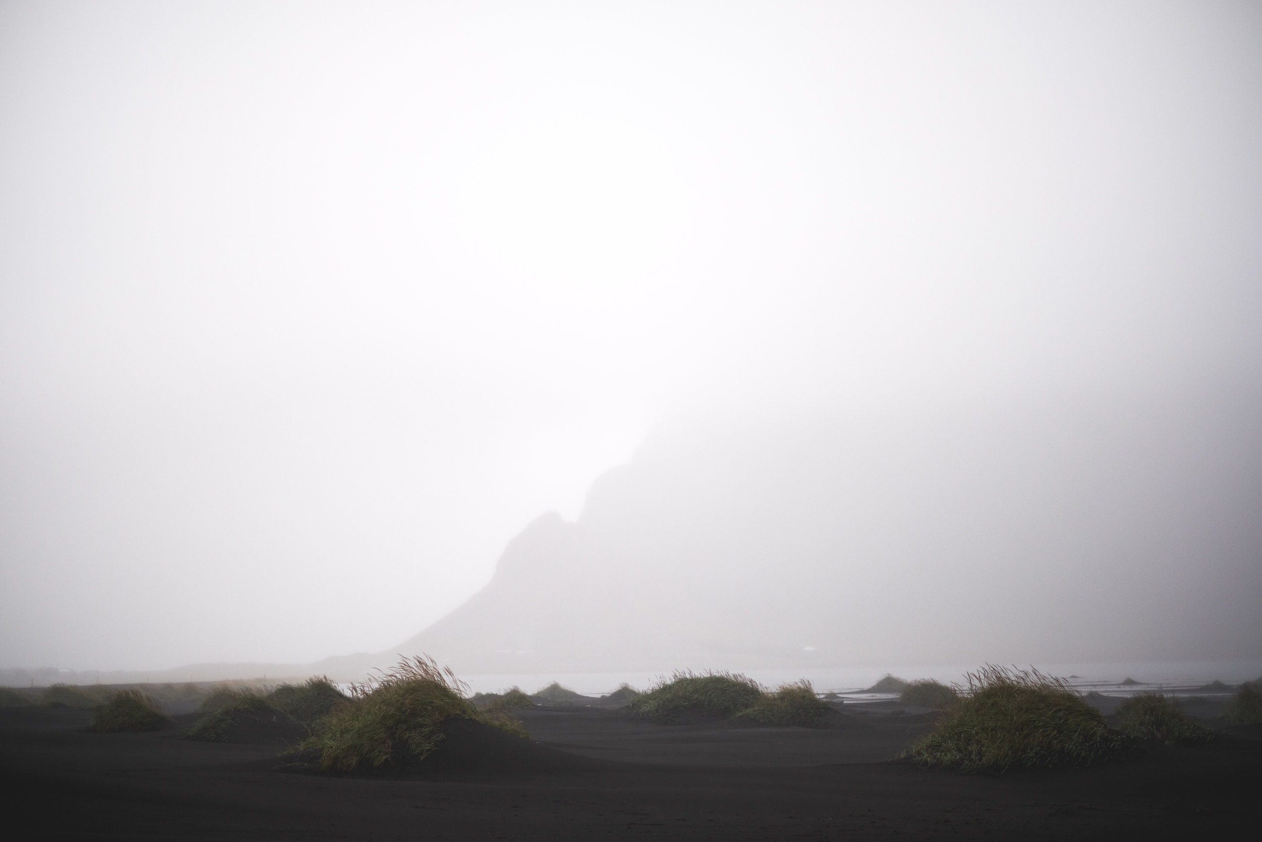 Vestrahorn on the Stokksnes peninsula remained hidden in the fog during our visit.