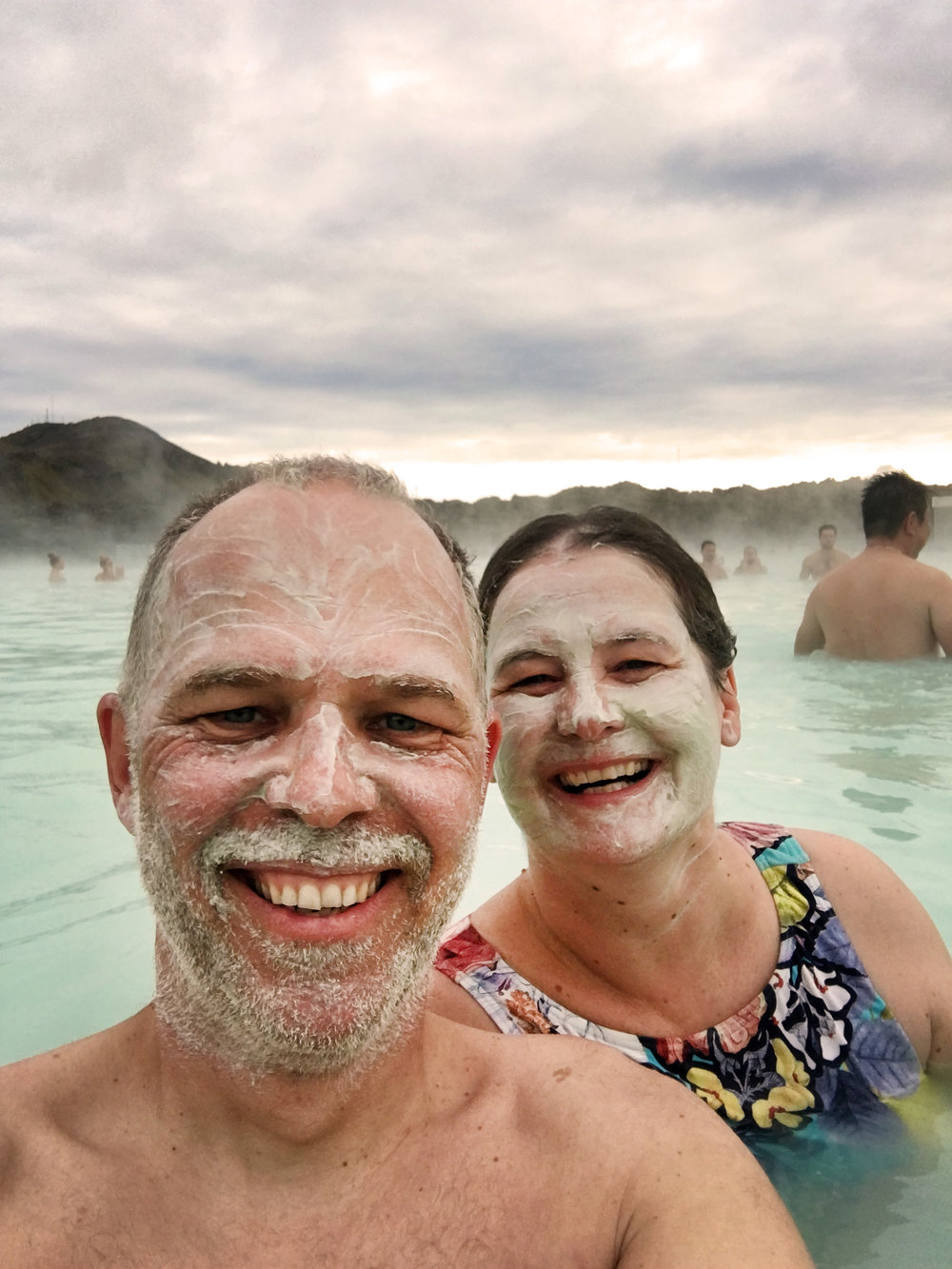 Smiles and face masks at The Blue Lagoon