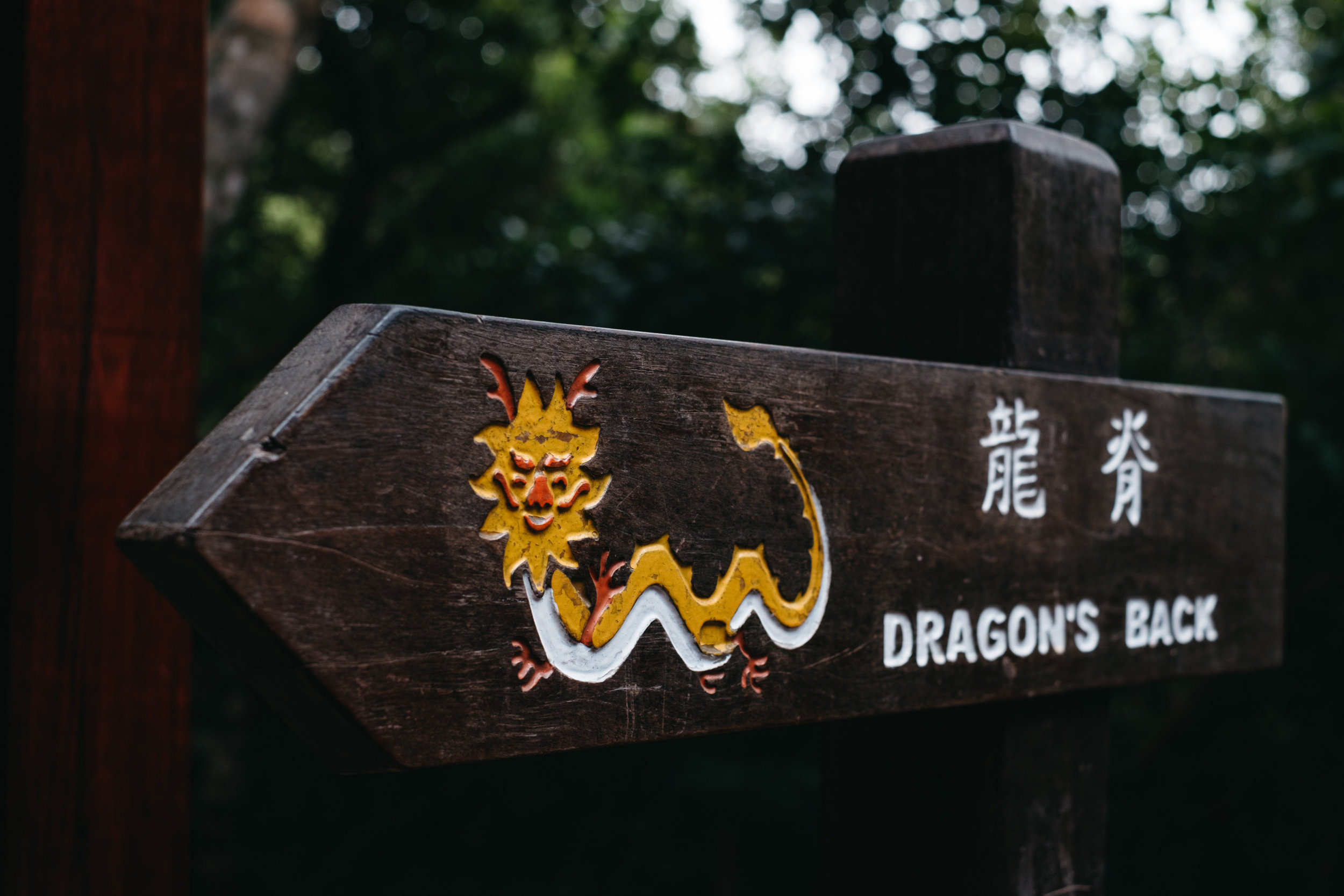 A direction sign for the Dragon's Back Trail in Hong Kong