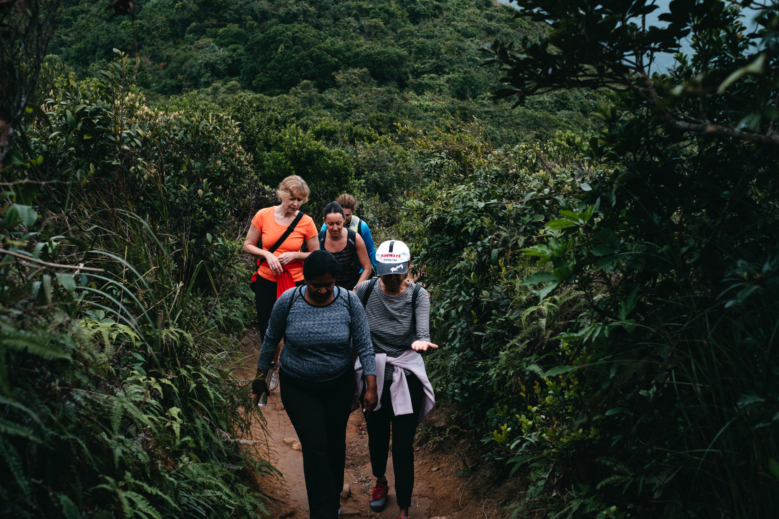 A group of women hike the Dragon's Back Trail in Hong Kong