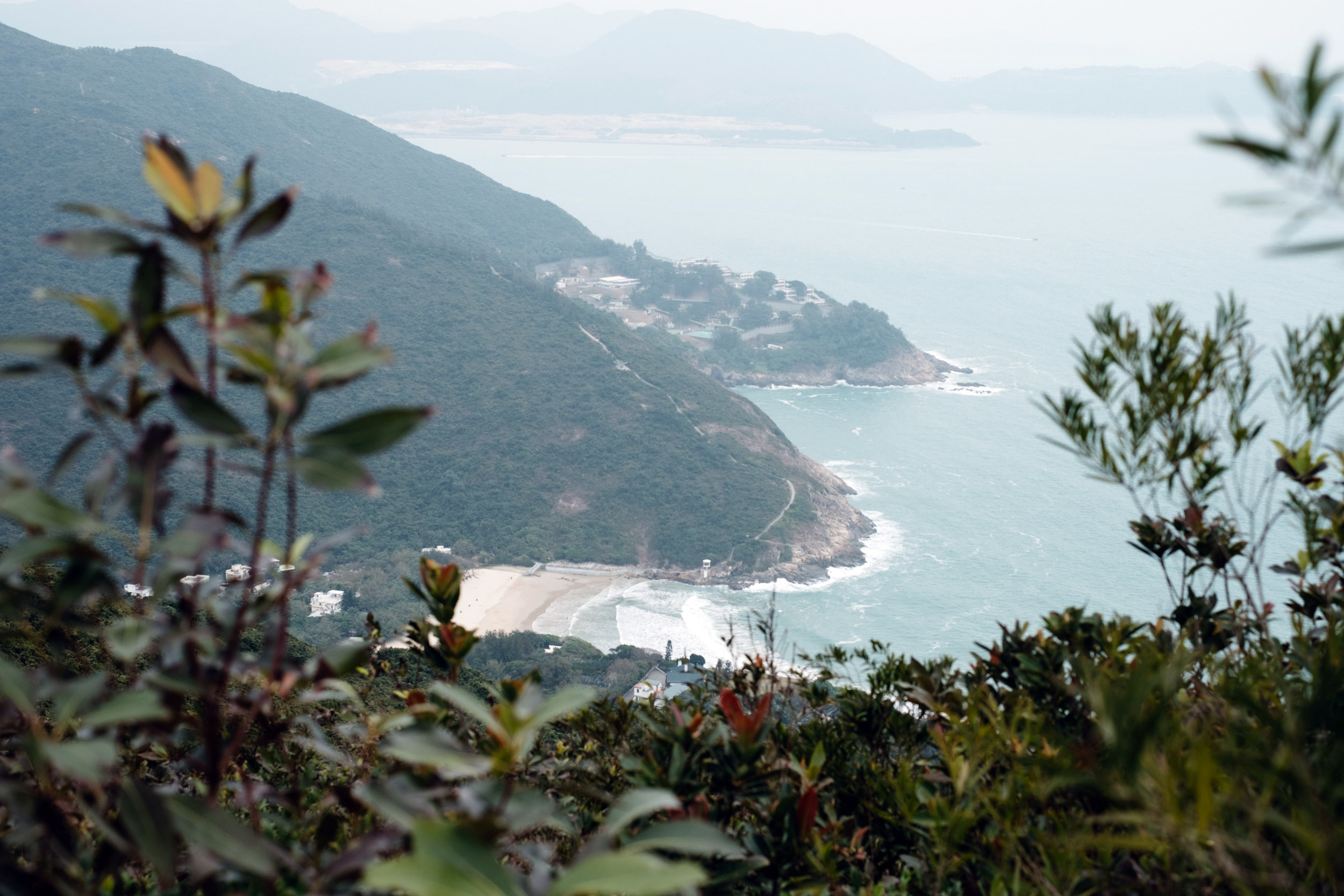 The view of the ocean from the Dragon's Back Trail in Hong Kong