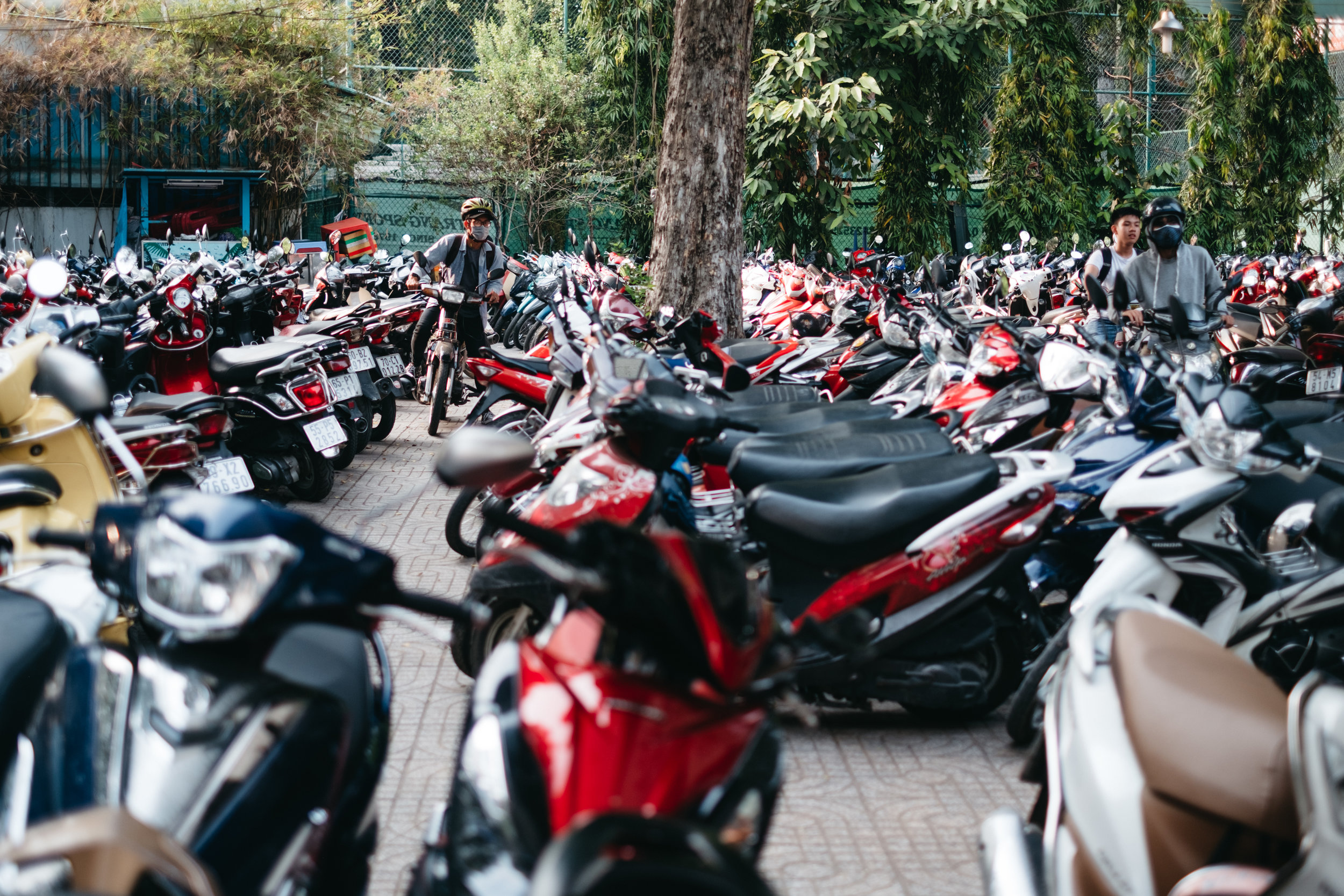 Scooter parking lot in Ho Chi Minh City, Vietnam