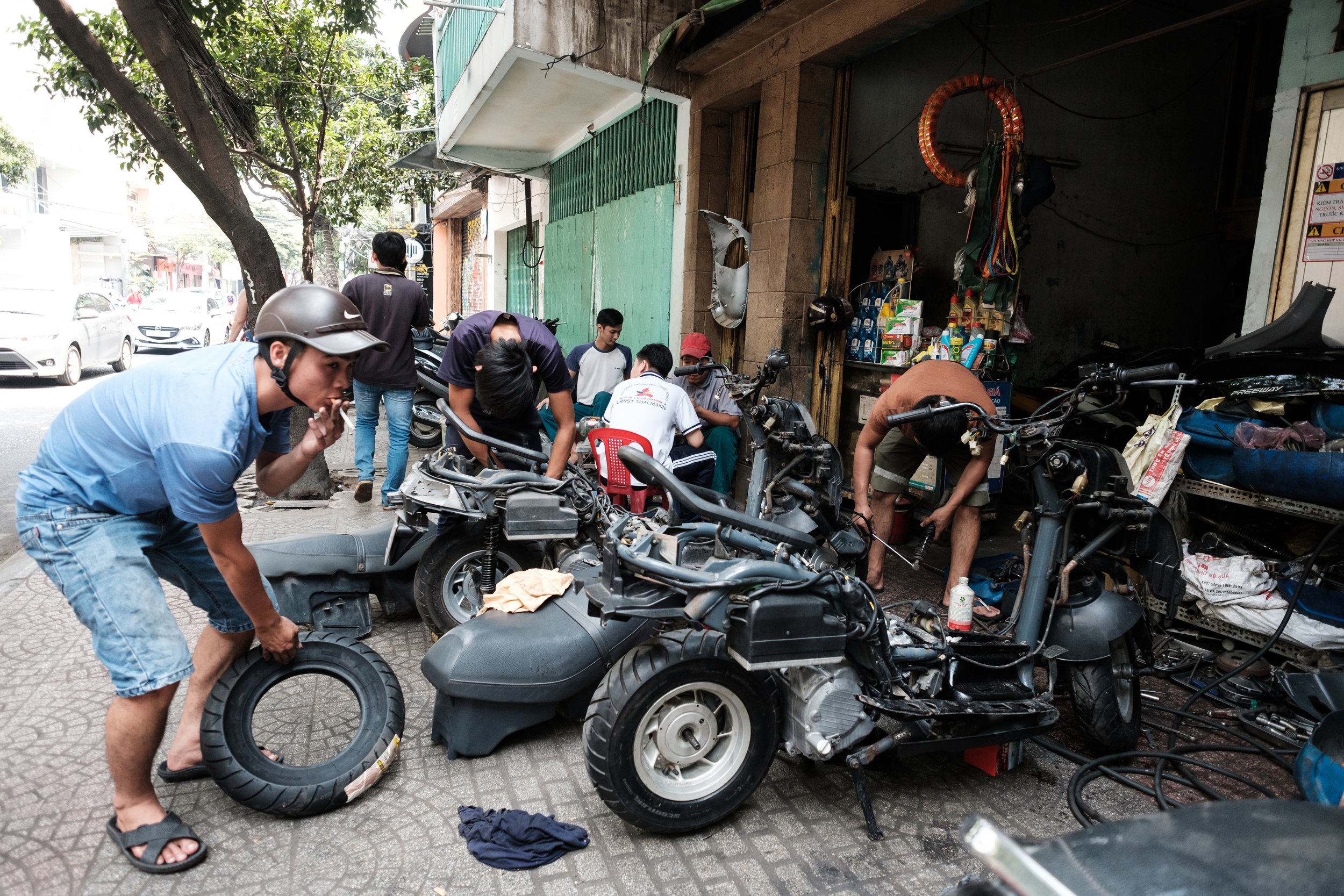 Scooter repair shop in Ho Chi Minh City, Vietnam