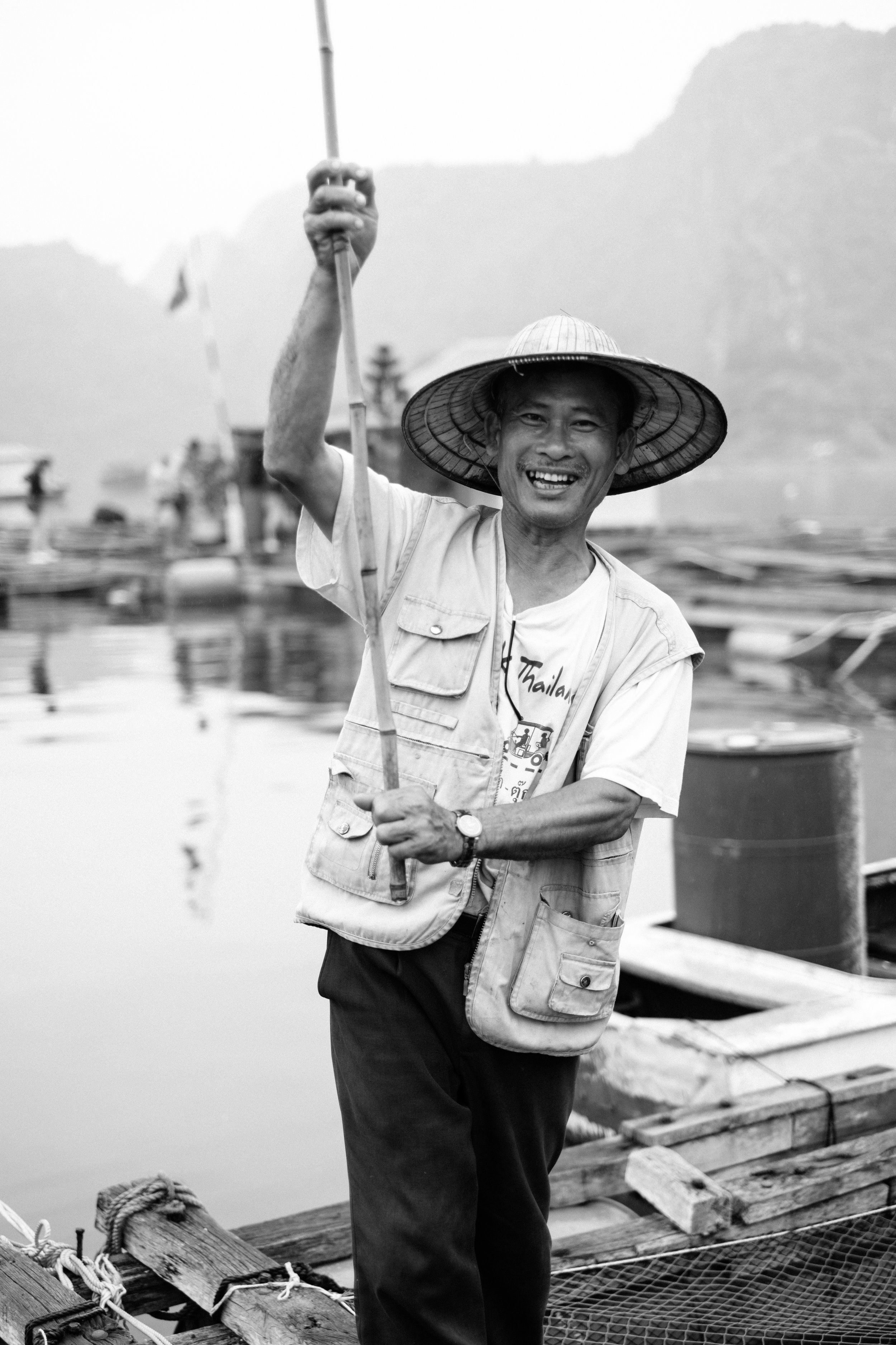 A resident of a floating fishing village on Lan Ha Bay in Vietnam