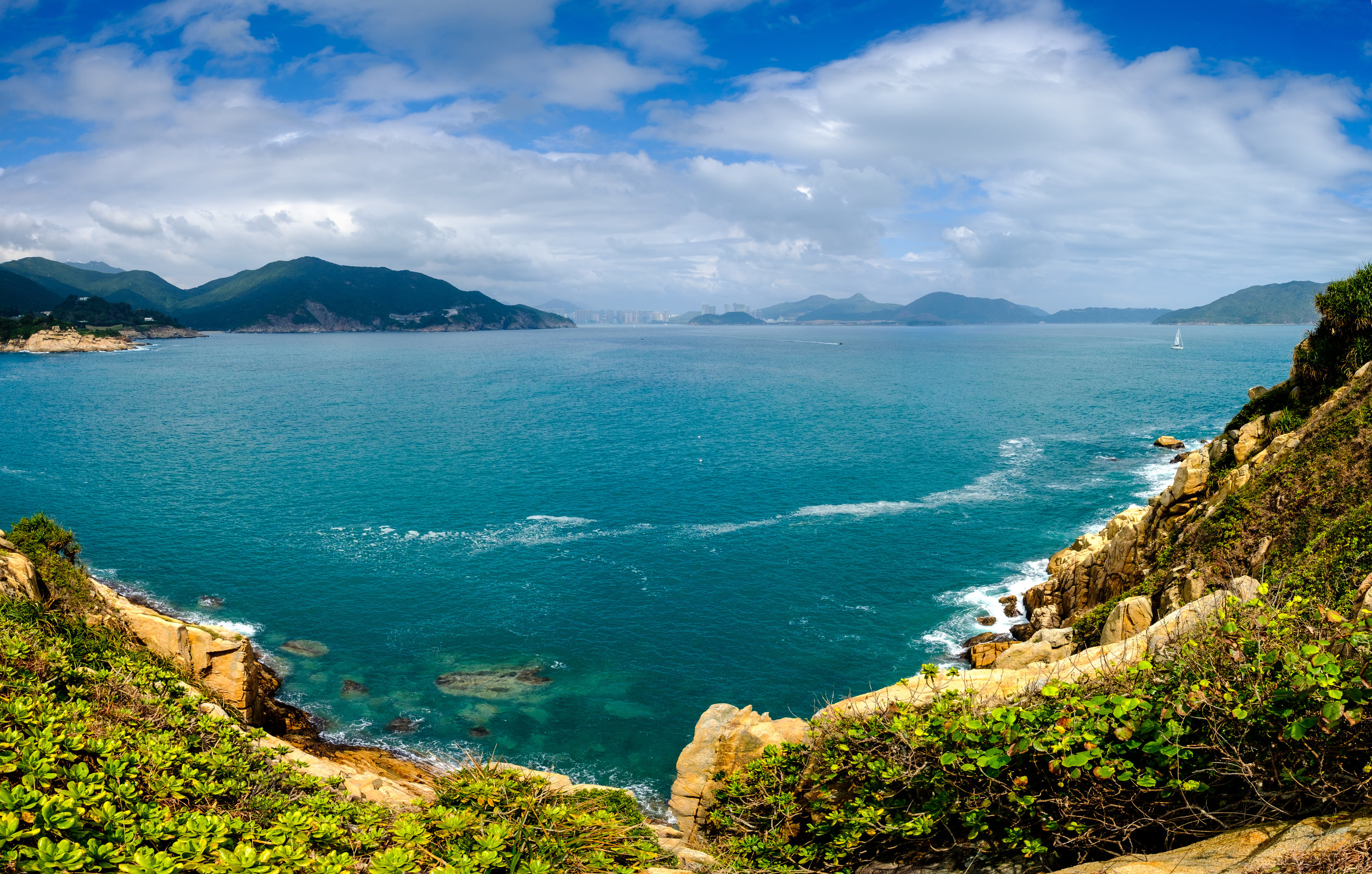 View from Shek O towards Hong Kong over the ocean
