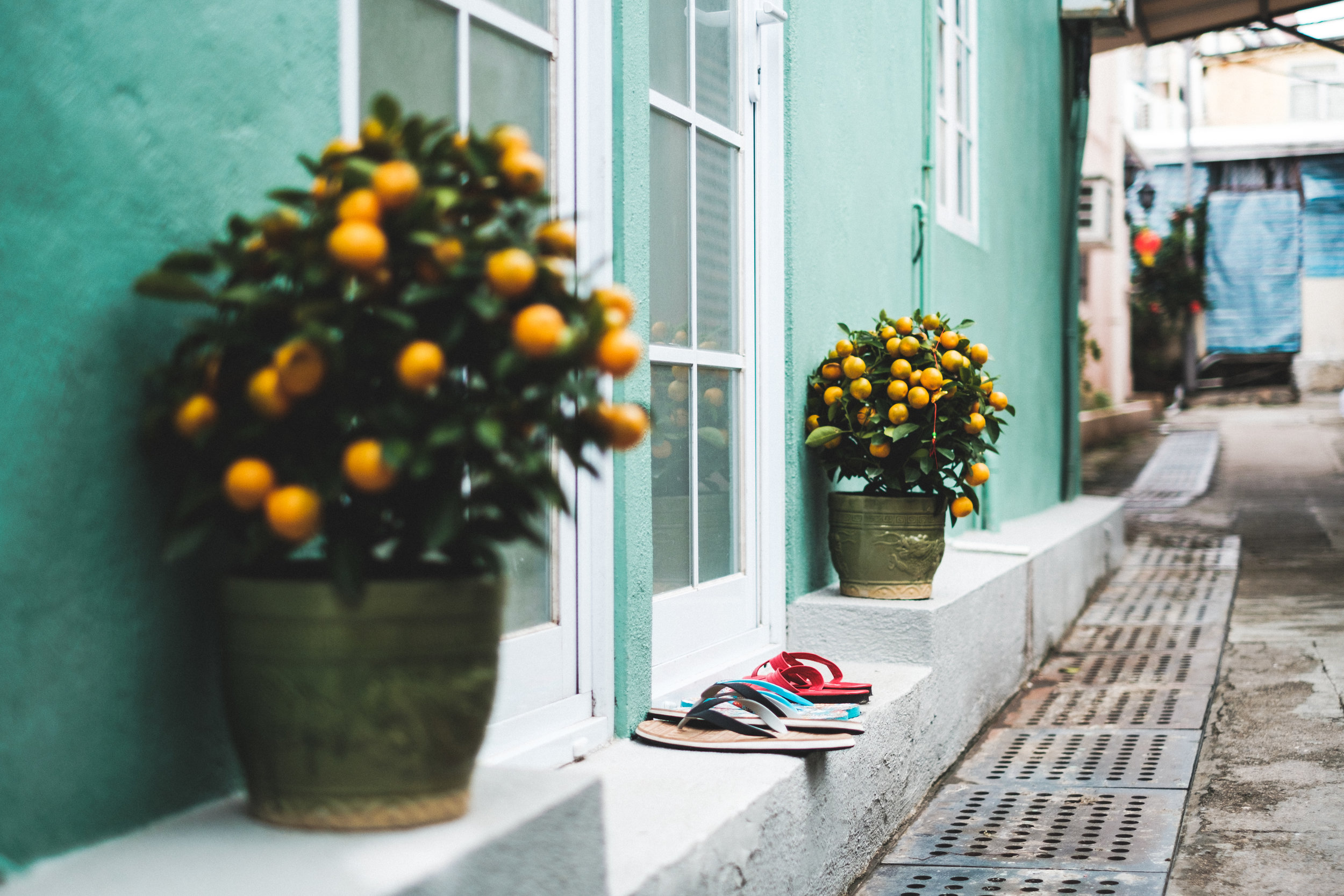 Entrance to a Home in Shek O Hong Kong with slippers and orange trees outside