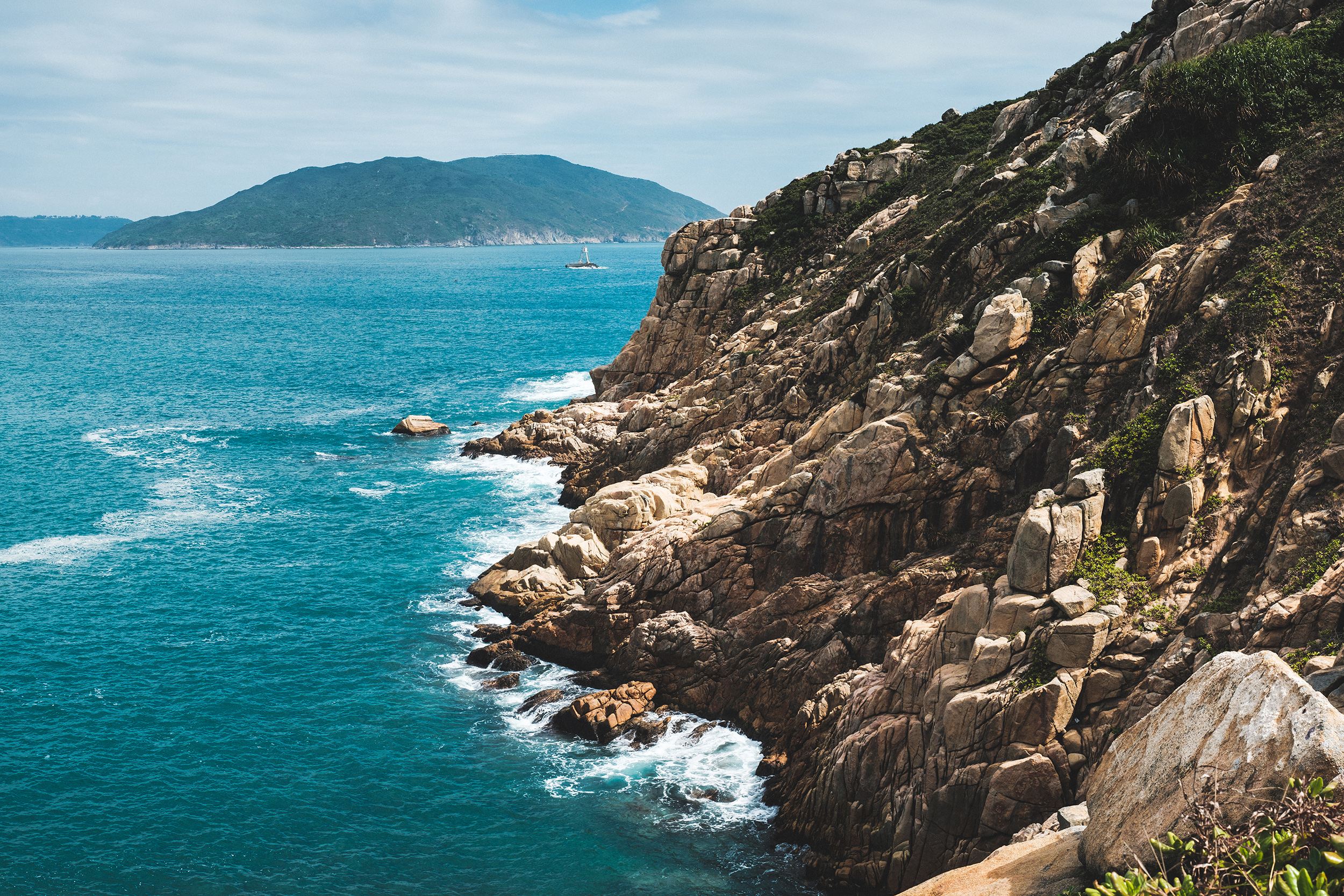 The rocky shore and ocean at Prospect Point in Shek O, Hong Kong