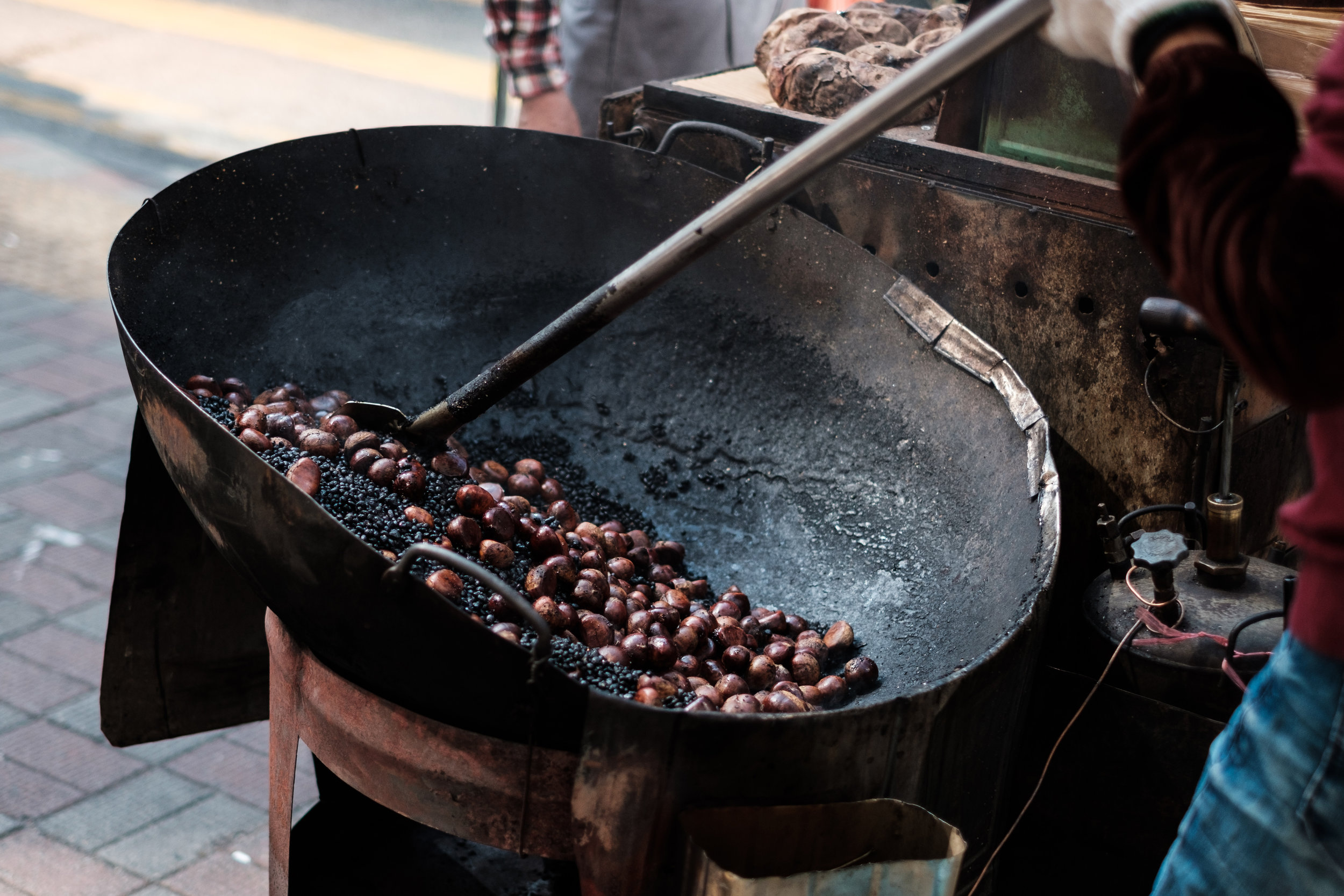 Roasted Nuts for sale by a food vendor in Causeway Bay, Hong Kong