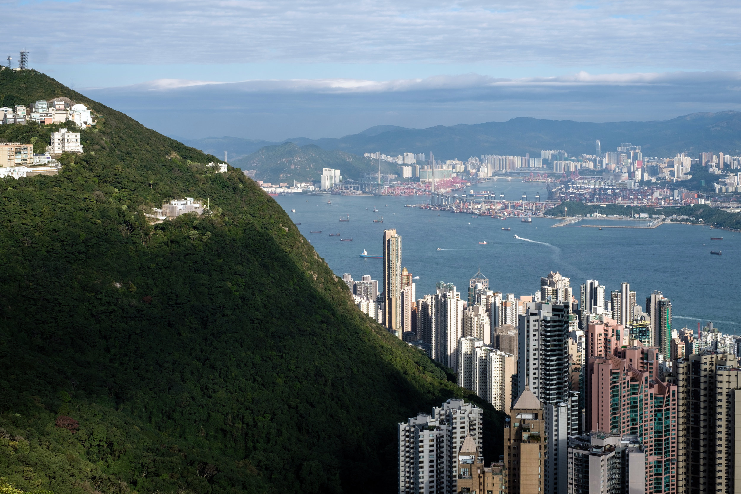 View of the Hong Kong Skyline and Victoria Harbour from The Peak