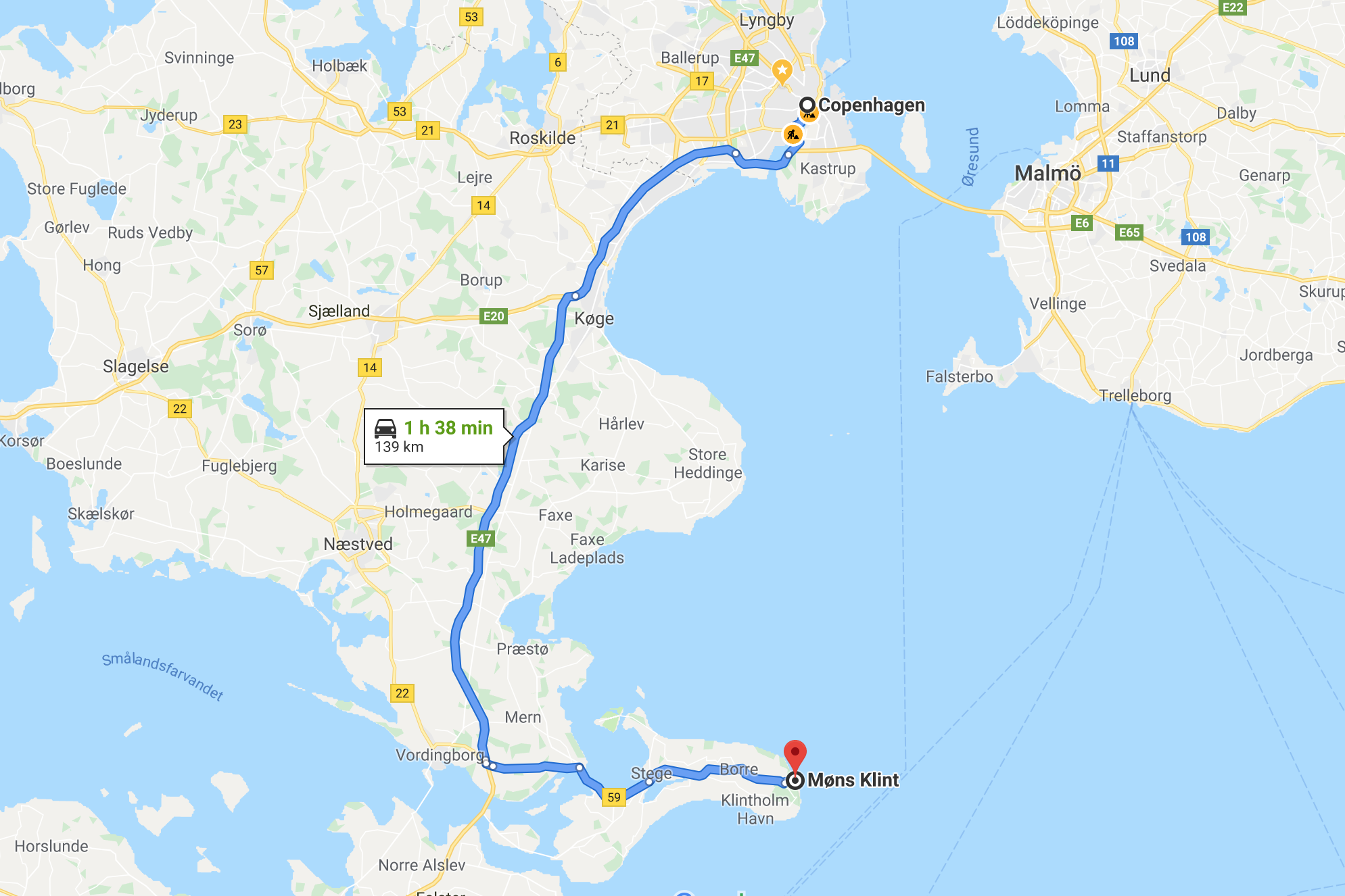 Map - Copenhagen to Møns Klint