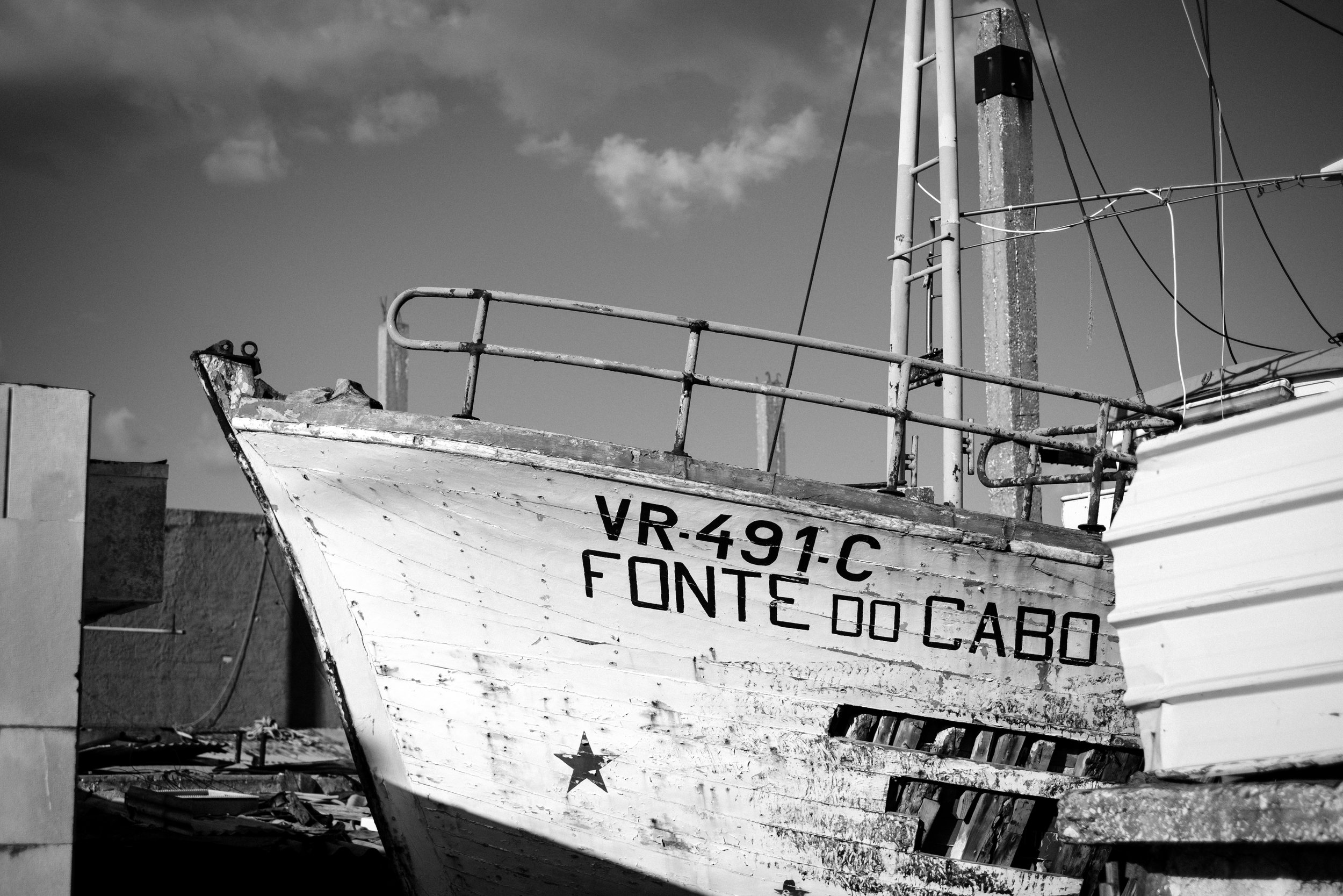 A boat is laid up a shipyard in Lisbon Portugal