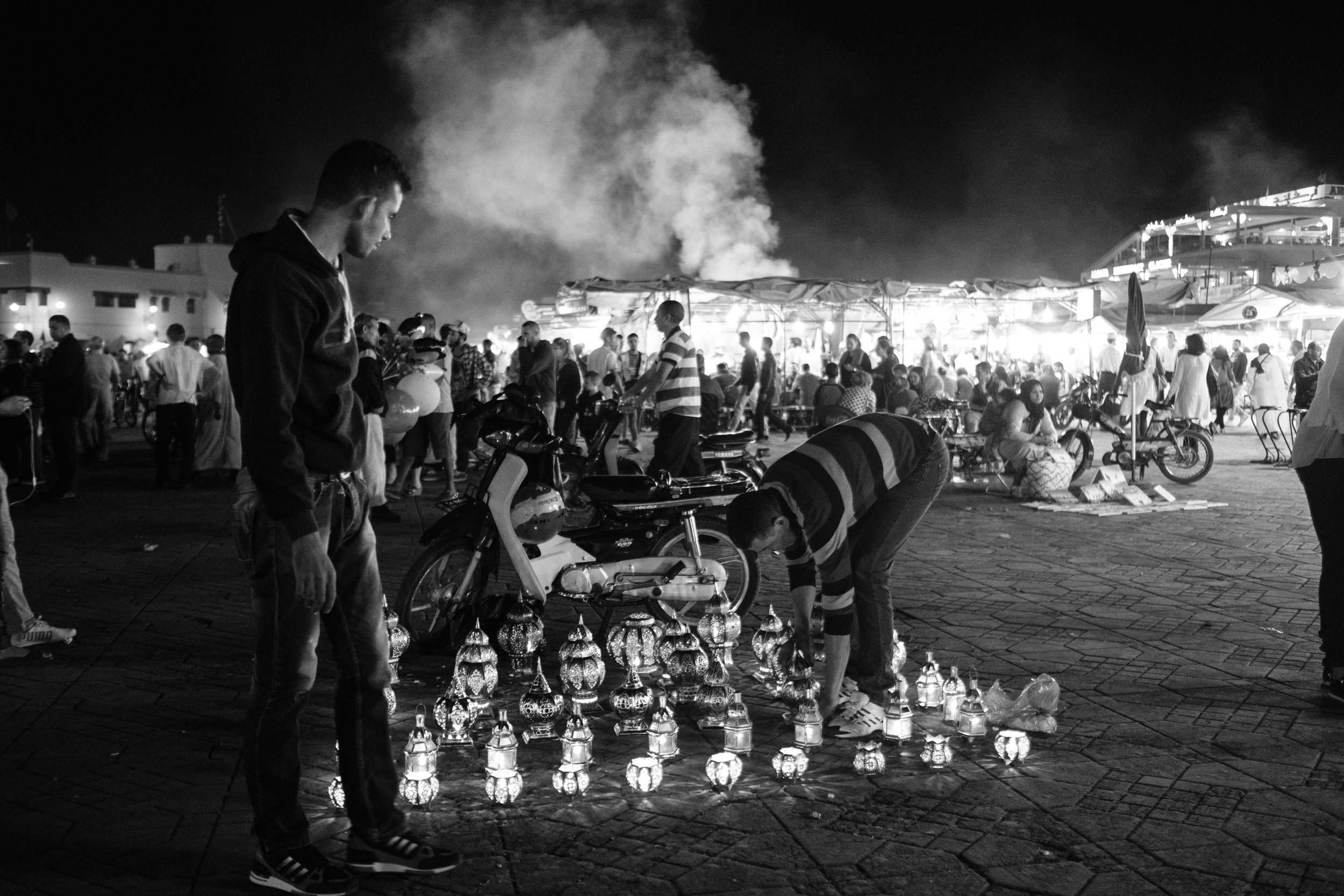 Night market at Jemaa el-Fna Square in the Medina District of Marrakech Morocco