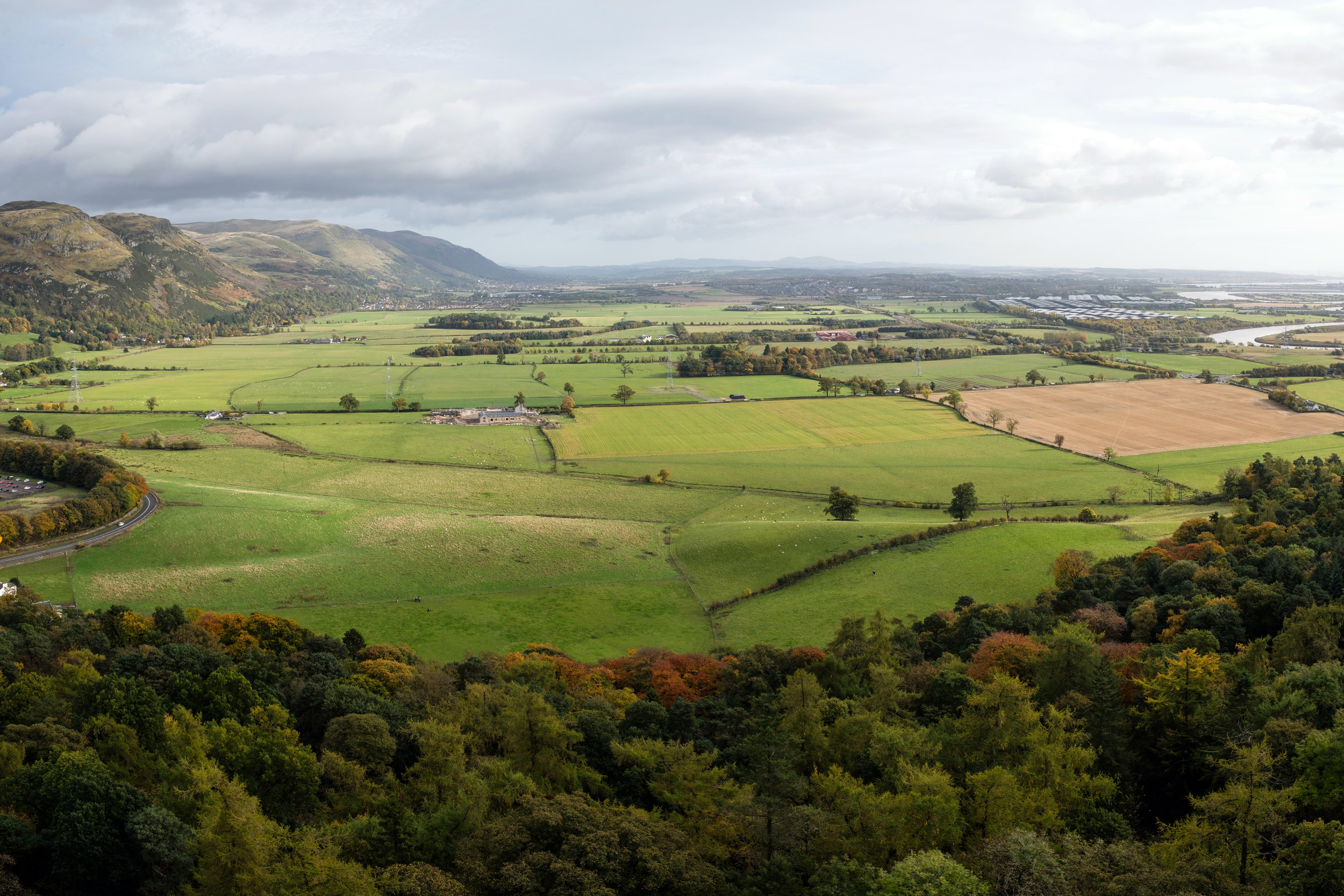 View form the Wallace Monument to the fields where the Scottish defeated the English in 1297