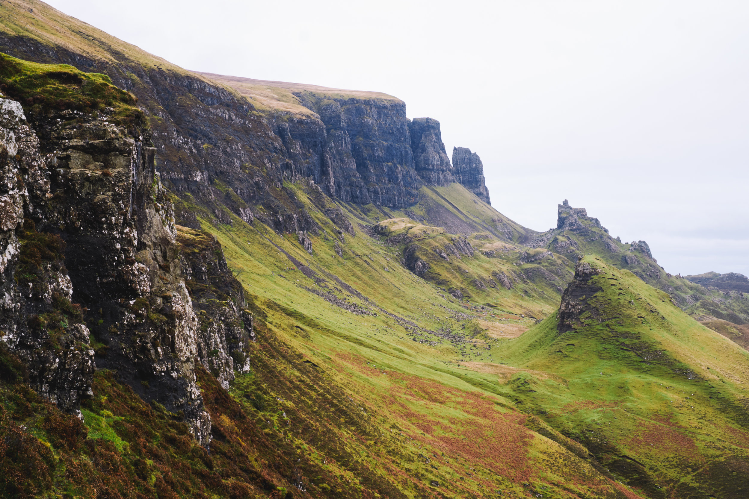 Quiraing and the green hillsides of Isle of Skye in Scotland
