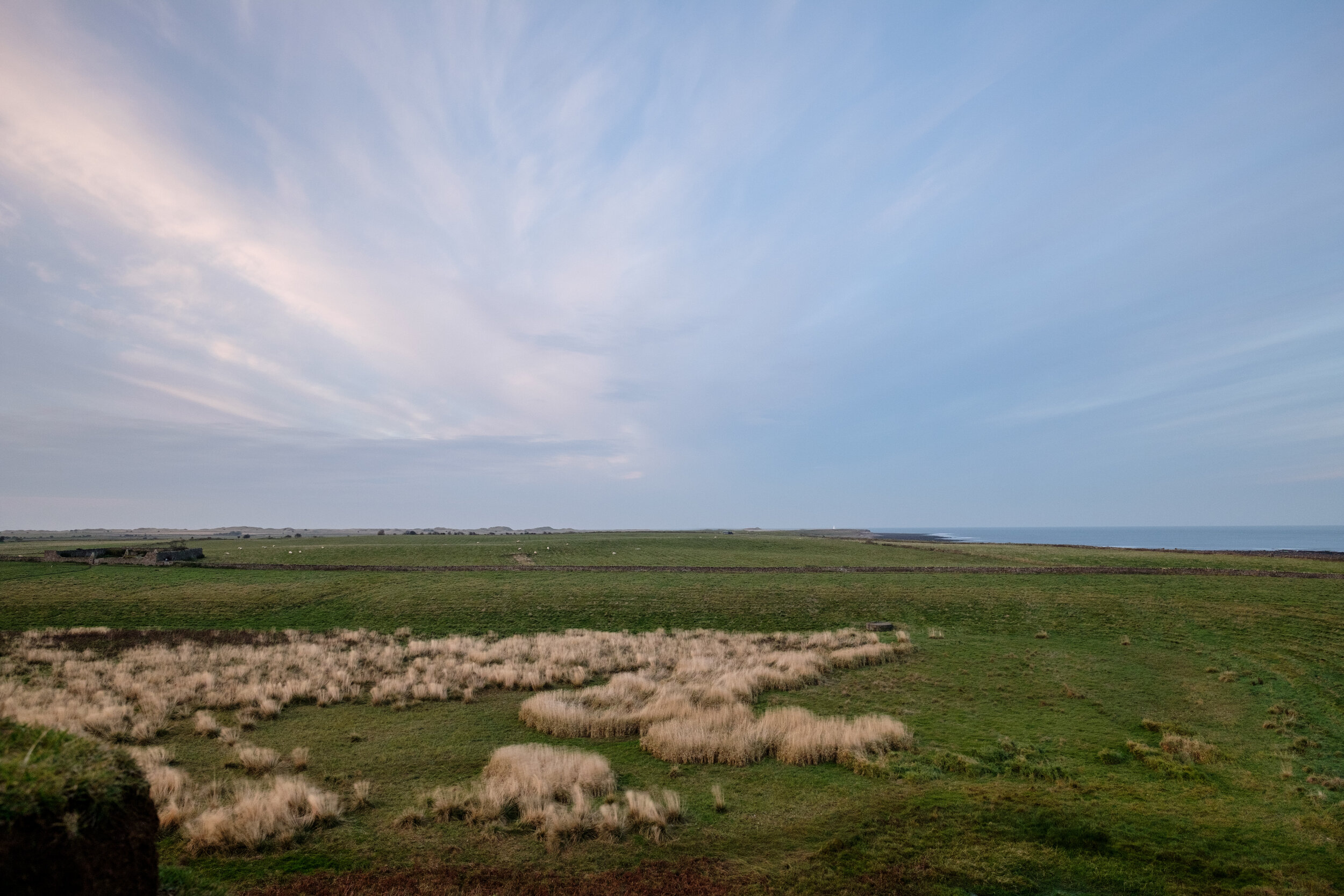 The bare landscape at Holy Island in England