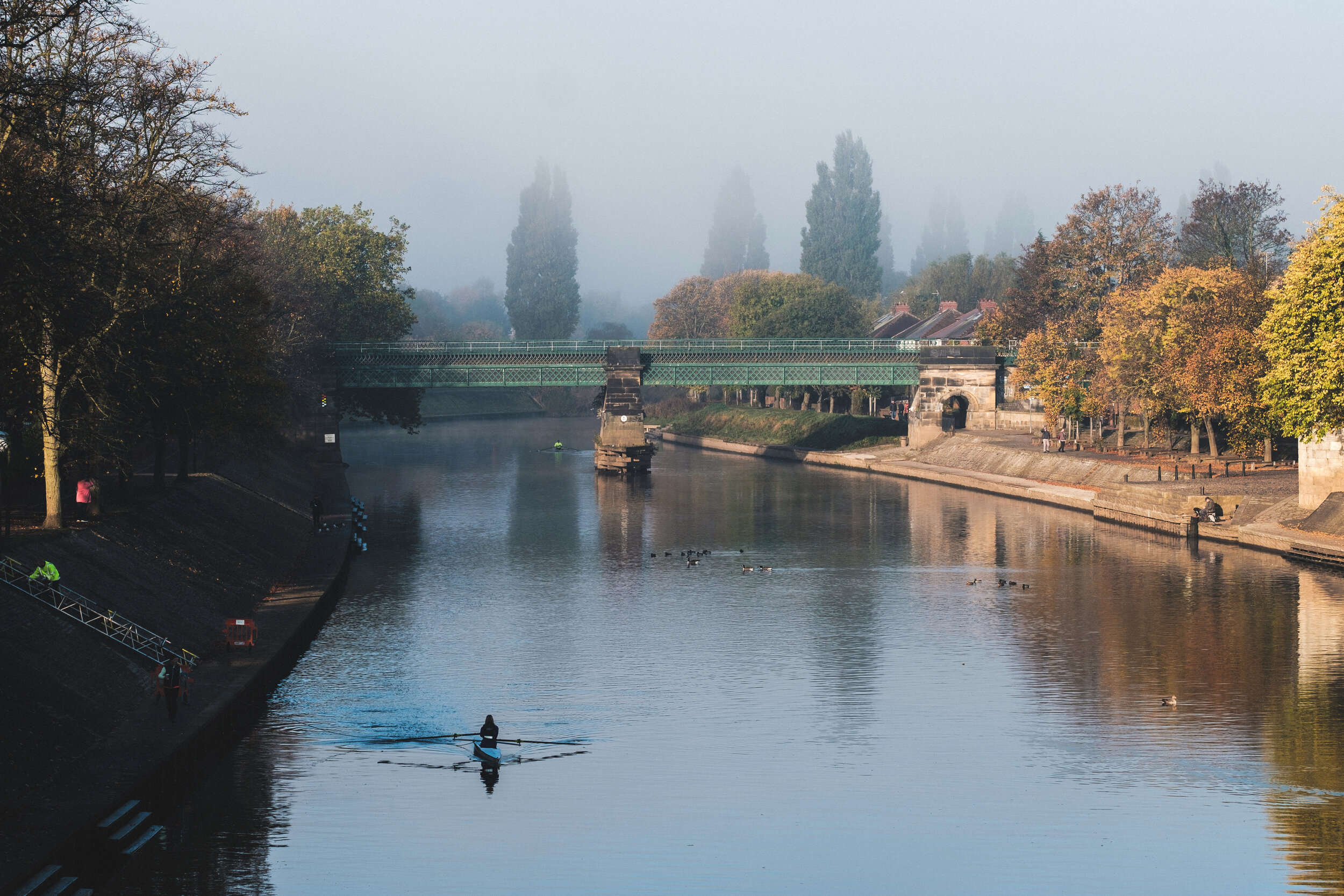 A single scull rowing boat on the River Ouse in York, England