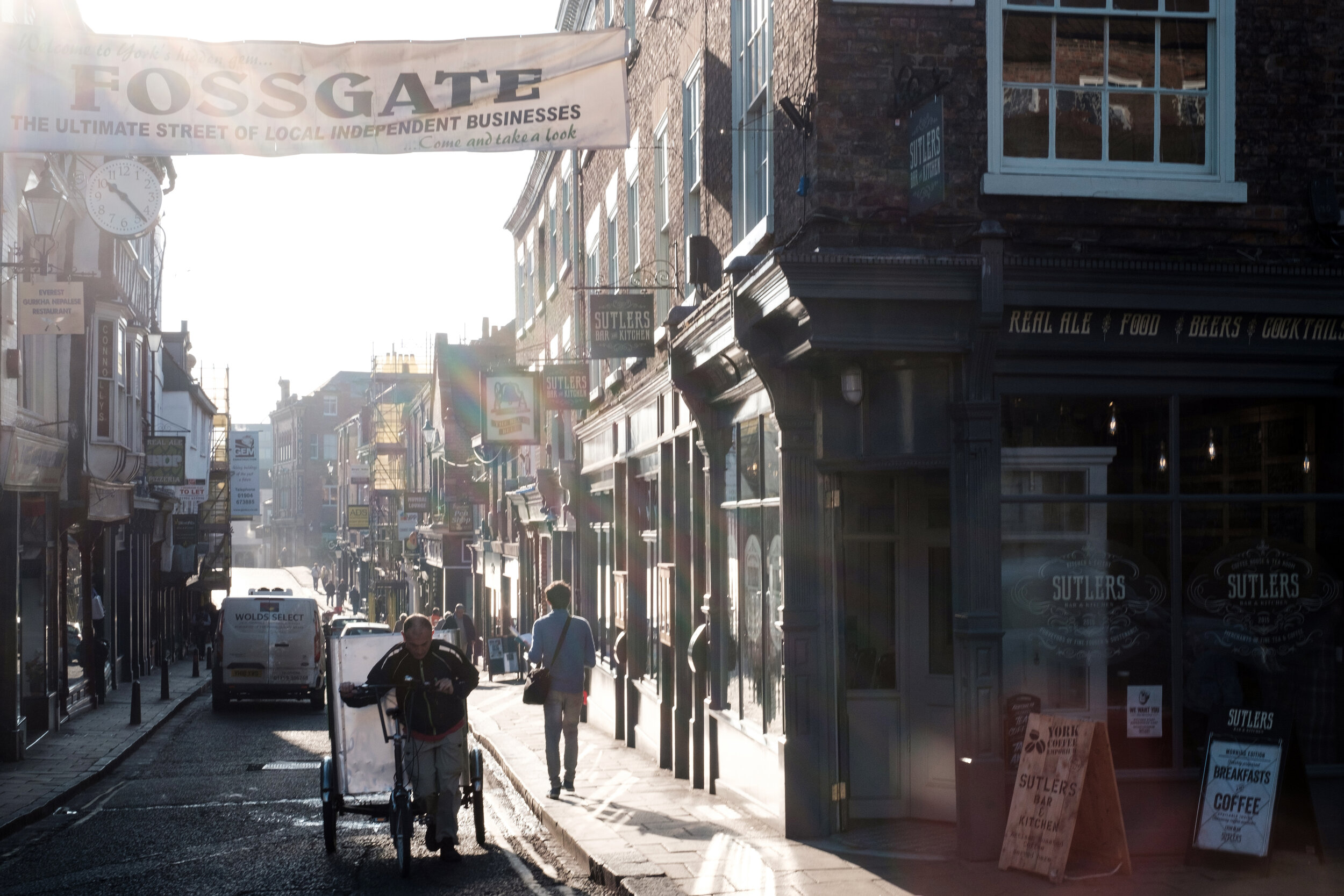 Fossgate in York Minster. Street Corner on a fall morning.