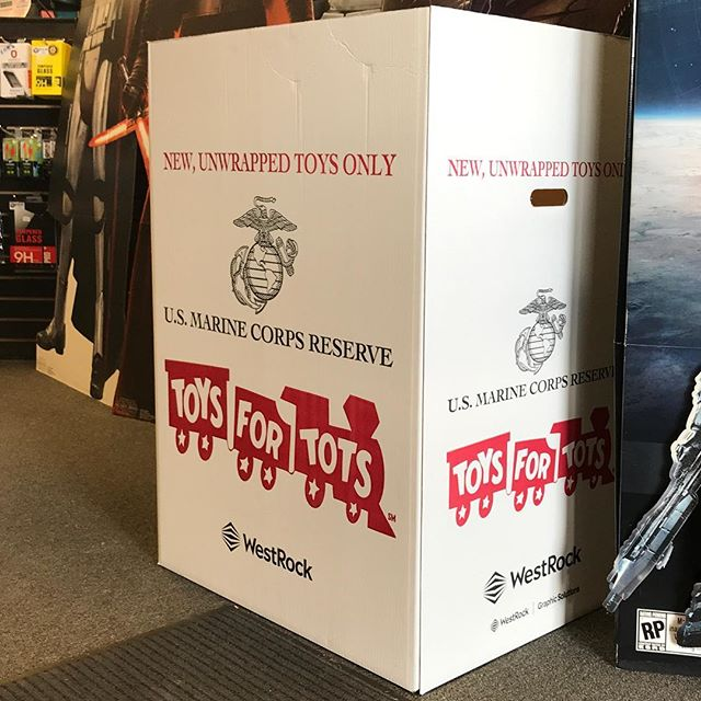 Help us fill the box! Bring an unwrapped gift and do good this Christmas with #gameboxvideogamesandcomics and #toysfortots #usmc