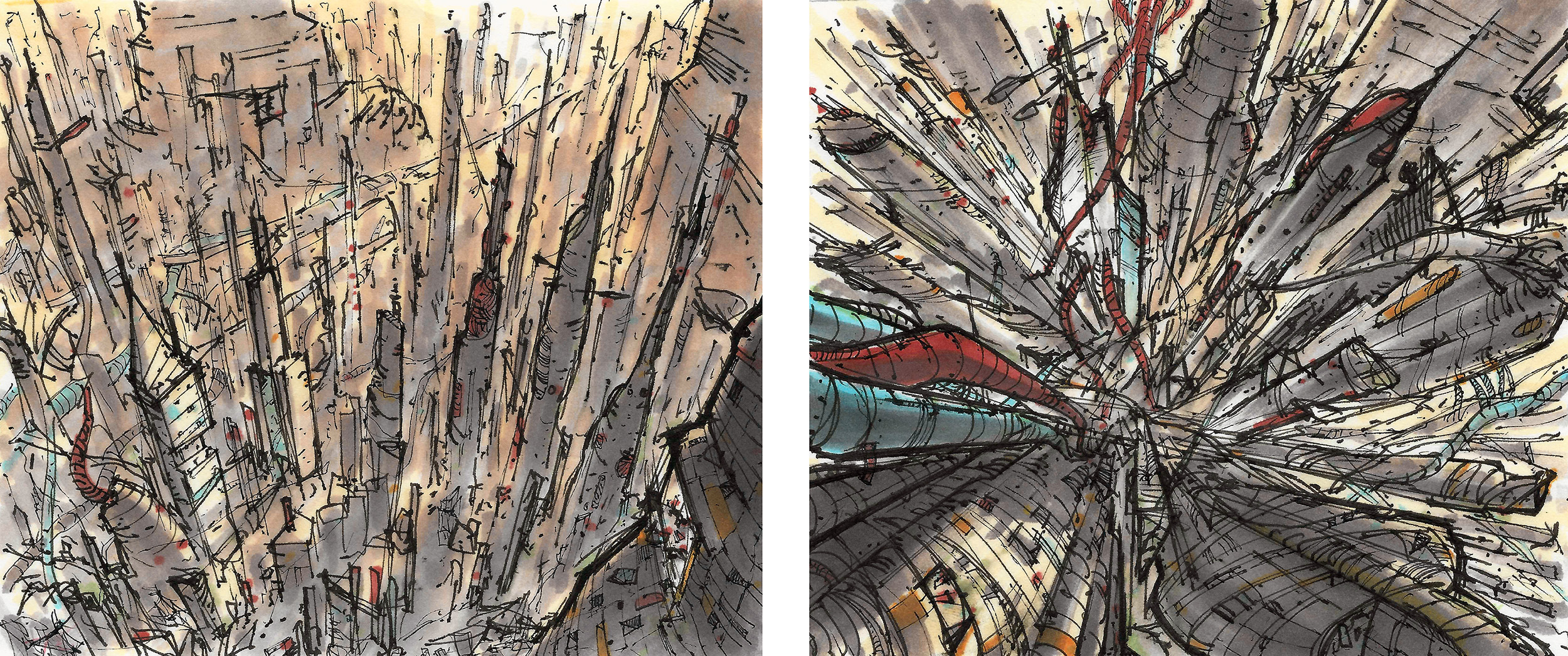 abandoned city - from a personal project called Silverback Last - pen & marker sketches by Jeremy Rumas