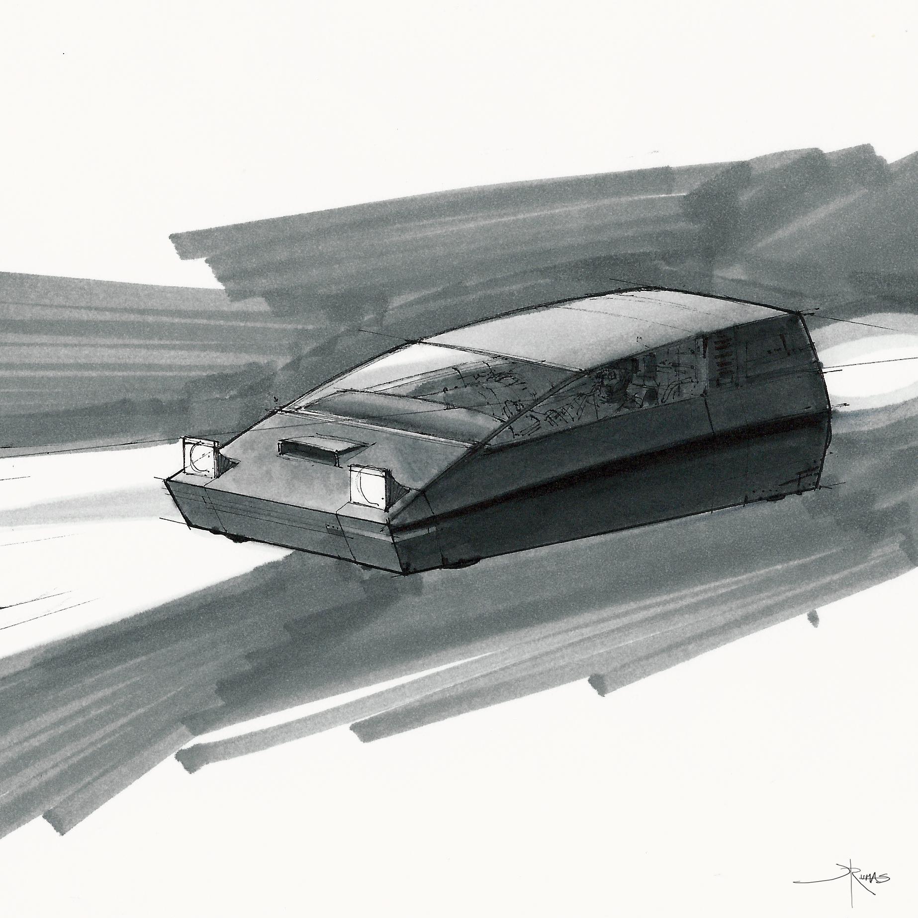 racer vs chaser - racer vehicle design sketch by Jeremy Rumas