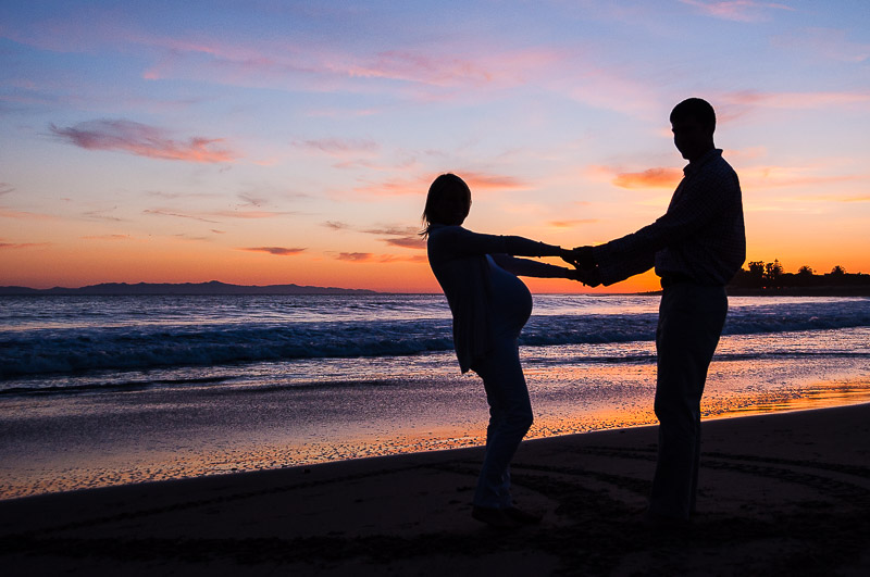 Sunset silhouette at the Ventura Pier, Maternity photography