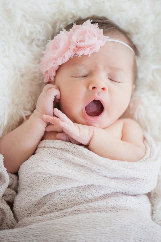 Newborn girl yawning, Camarillo baby photographer