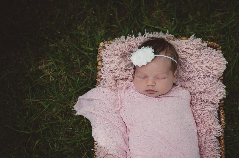 Outside newborn in pink, Camarillo newborn photography