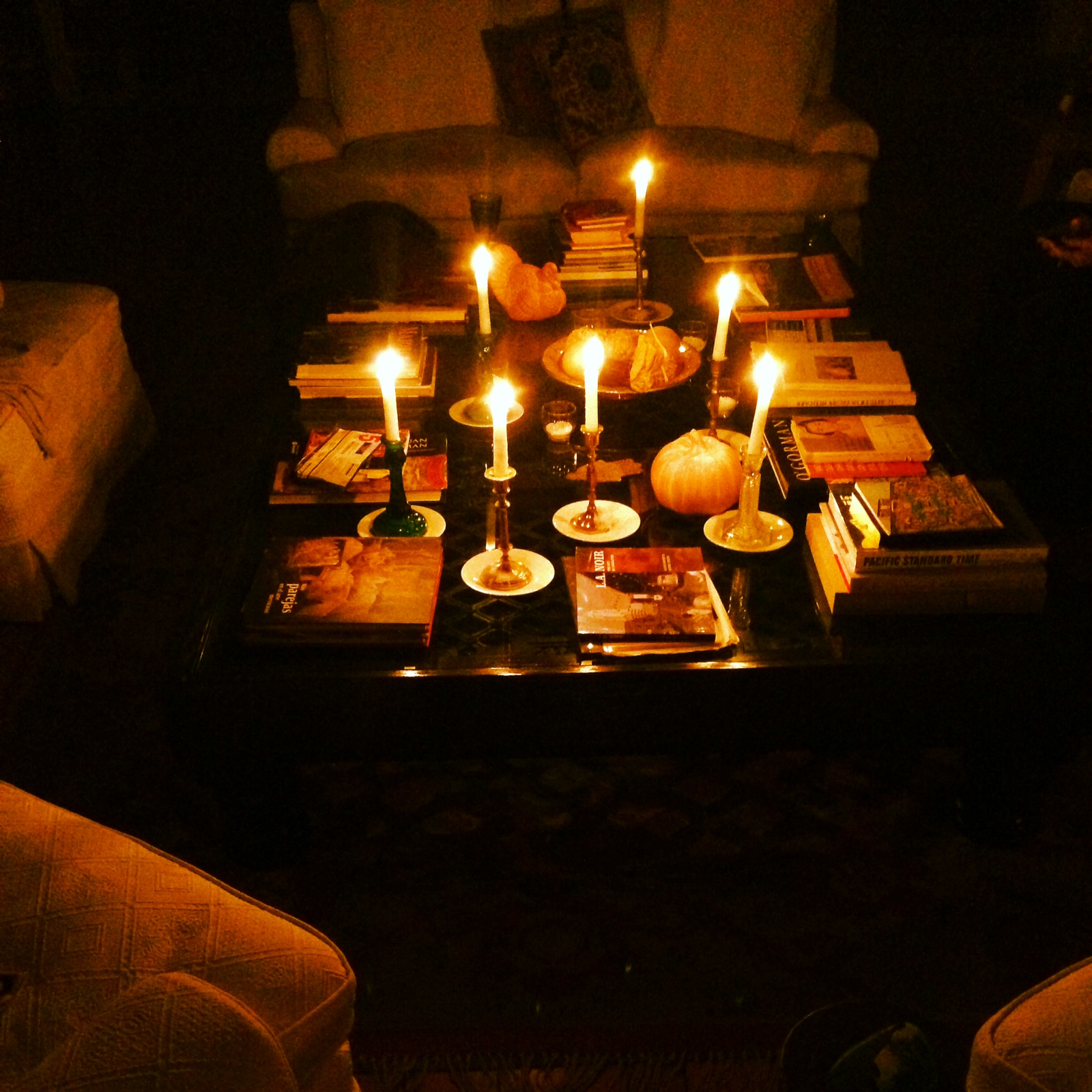 Traditions change and are added over the years. A blackout one Thanksgiving forced us to huddle together in the living room with night caps and candlelight. It's something I hope to continue, even if the lights are working just fine!