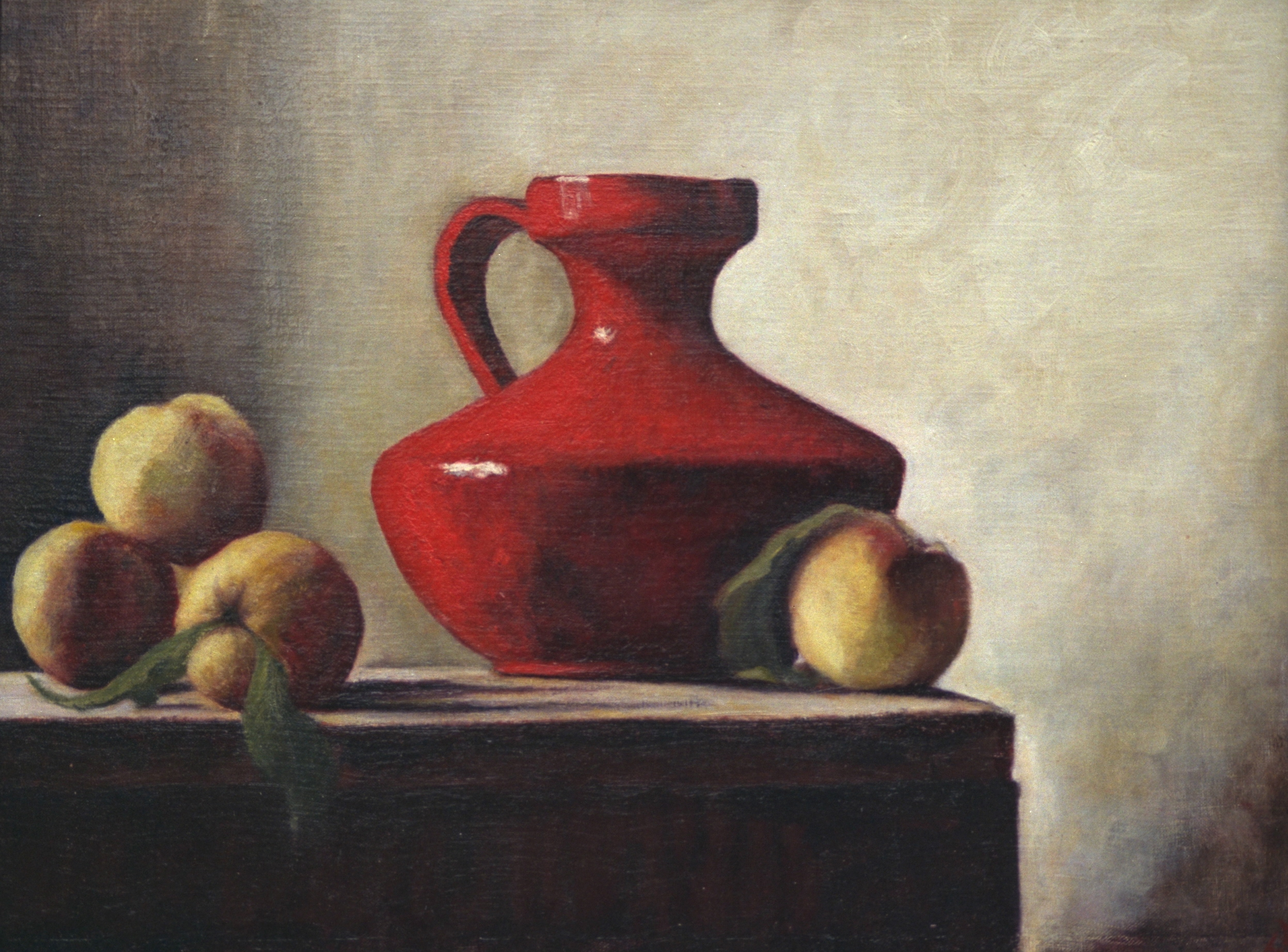 A Red Vase and Peaches