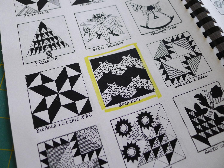 Barn Bats Block or Mini Quilt — Elizabeth Hartman Designs