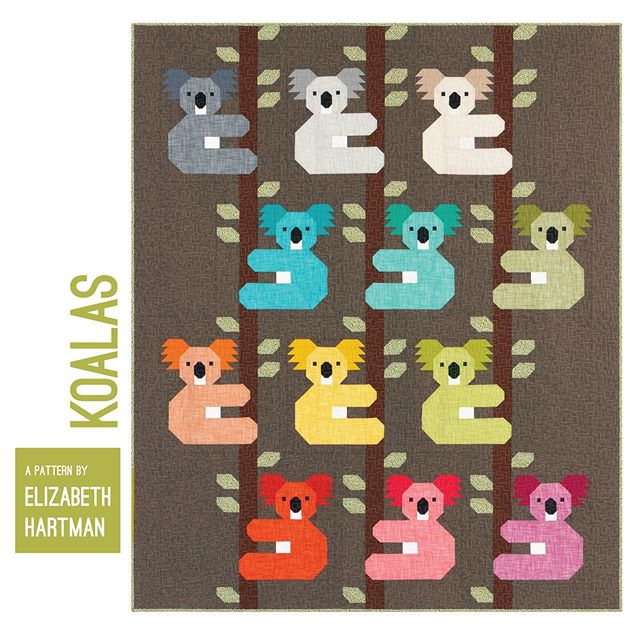 I feel fully koala-fied to introduce this next new pattern! The koalas in my sample quilt have bodies made with Manchester wovens and ears made with Kona Solids. Background is Essex Yarn-Dyed Espresso. The Koalas pattern will be available in early November and new Manchester colors and kits ship from @robertkaufman starting April 2020. I hope you'll use this pattern to make many koala-ty quilts! (Scroll to see details of the quilt and Manchester fabric.) #ehkoalasquilt