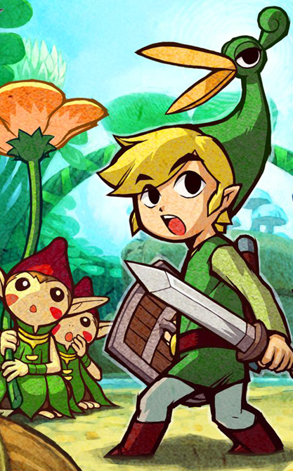 The Legend of Zelda: The Minish Cap for Game Boy Advance (GBA) art with Minish and Cap.