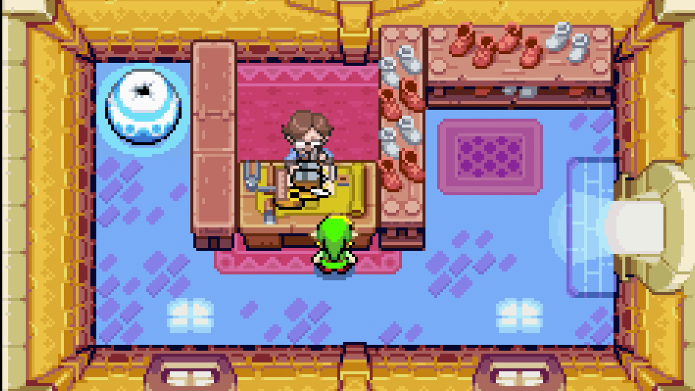 The Legend of Zelda: The Minish Cap link in the shoe store. GBA (Gameboy Advance).