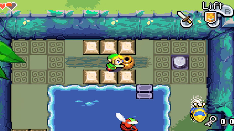 Minish Cap Link pushes jar onto switch. GBA, Wii U, 3DS via ambassador program.