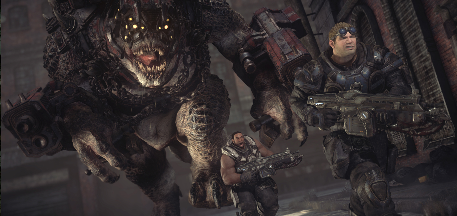 Gears of War Ultimate Edition.Games for Windows Brumak chase from Act V. Xbox One version of digital game.