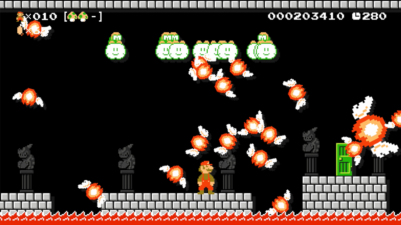 Super Mario Maker 100 Mario lives run. Fire balls and Lakitu from Super Mario Bros. 1985.