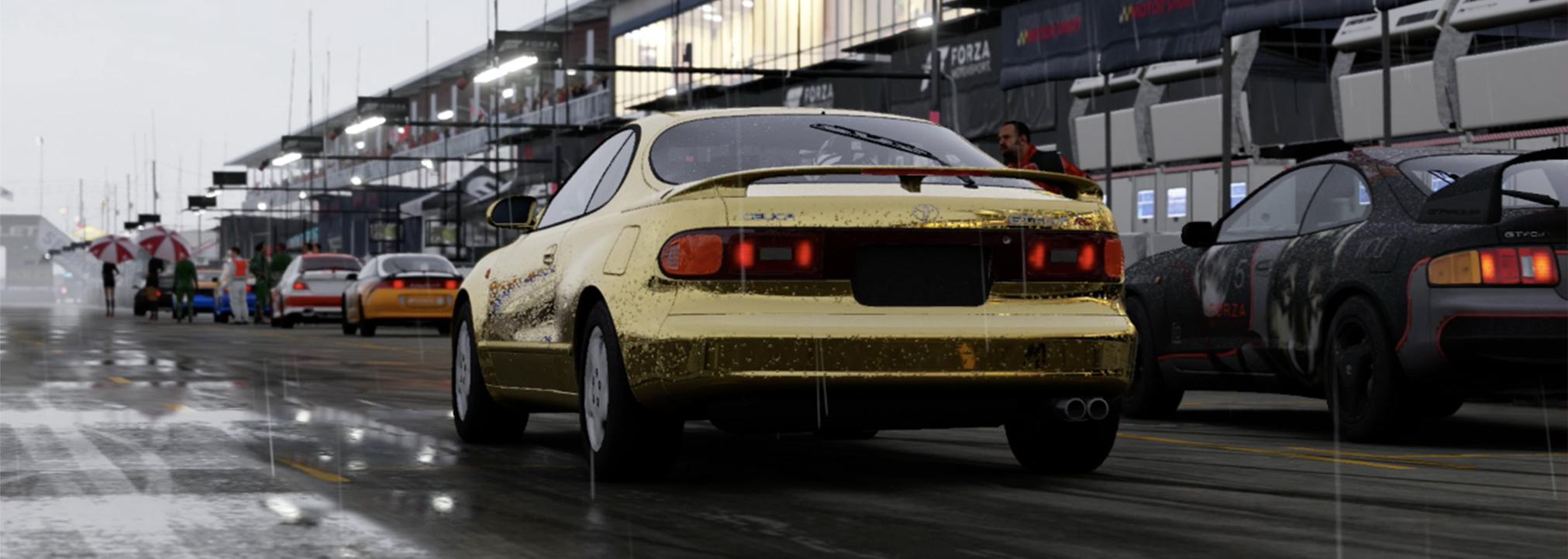Forza Motorsport 6 rain wet pavement start of race. Gold plated car.