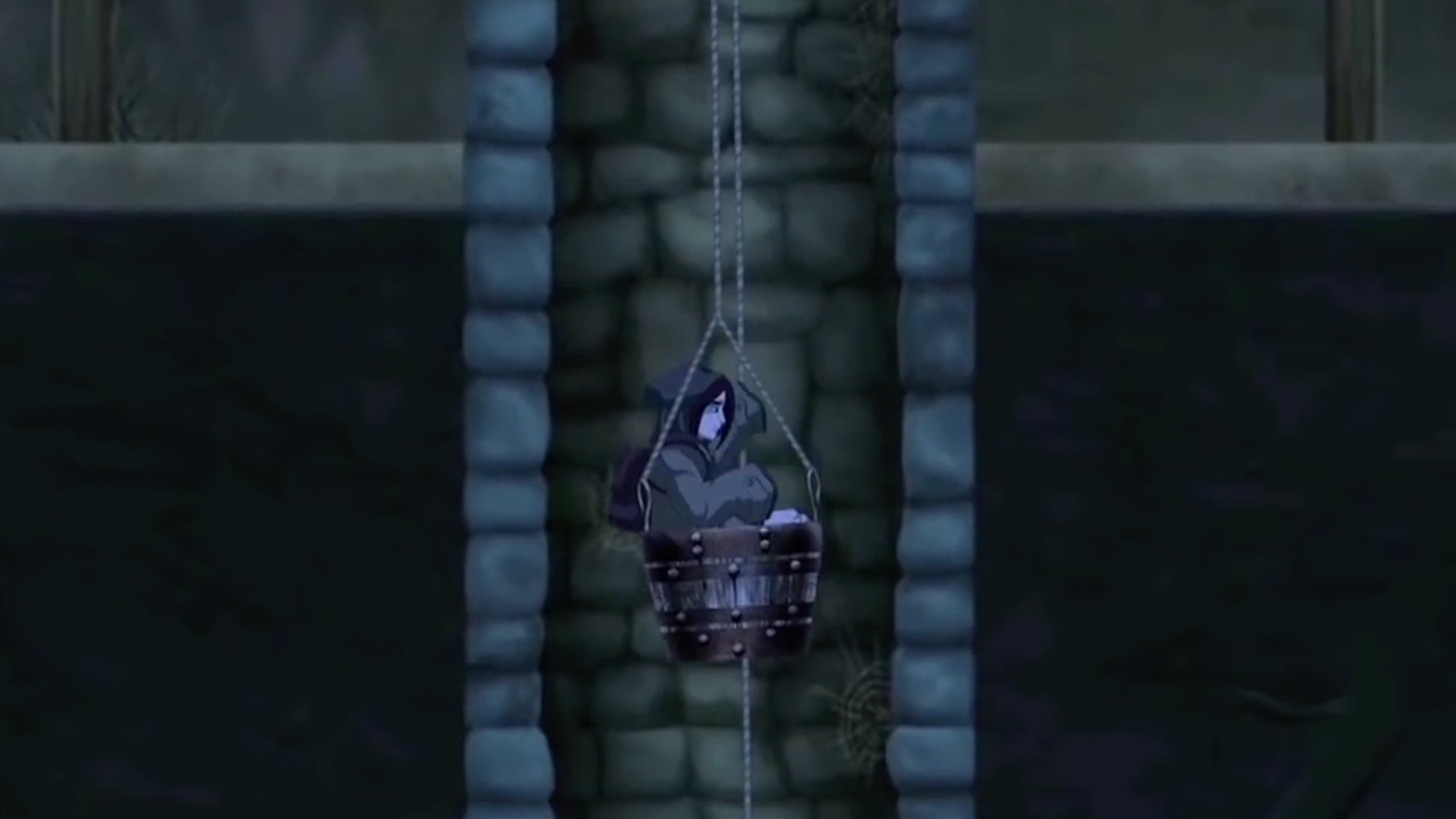 Whispering Willows descending the well in bucket. Steam, Mac, Xbox One, PlayStation 4, Wii U.