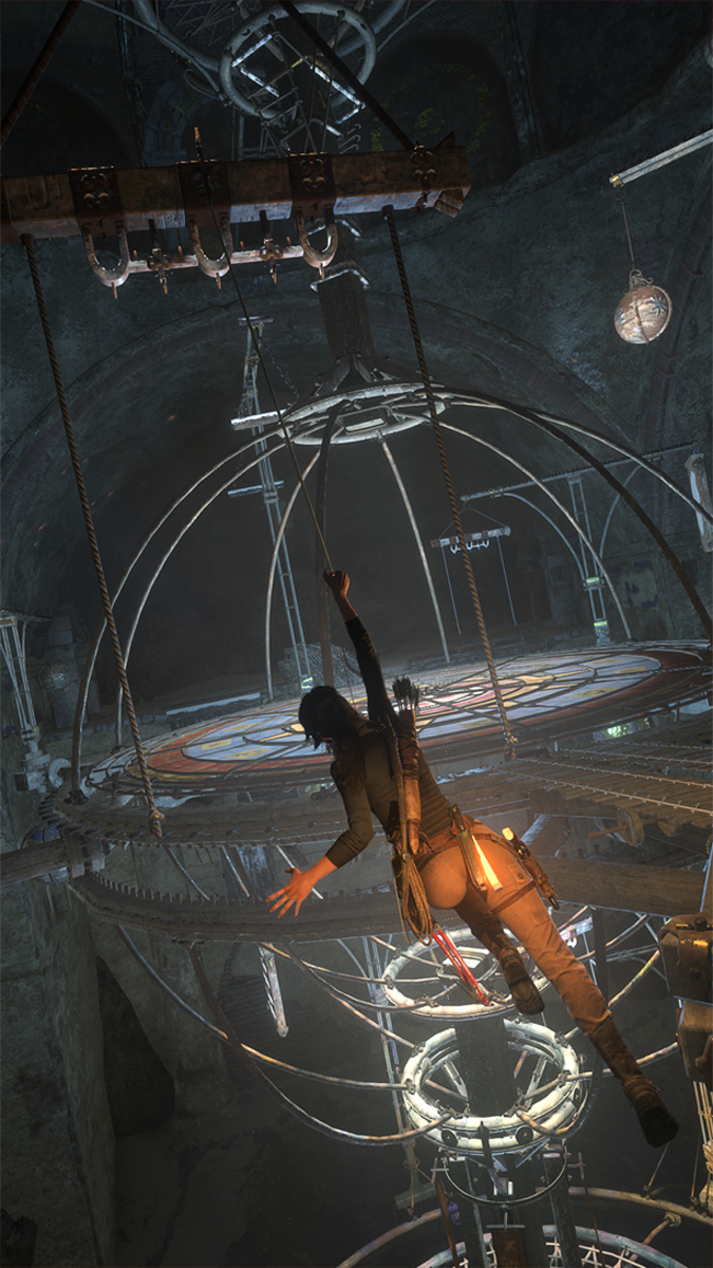 Lara swings onto a puzzle in Rise of the Tomb Raider for Xbox One 2015