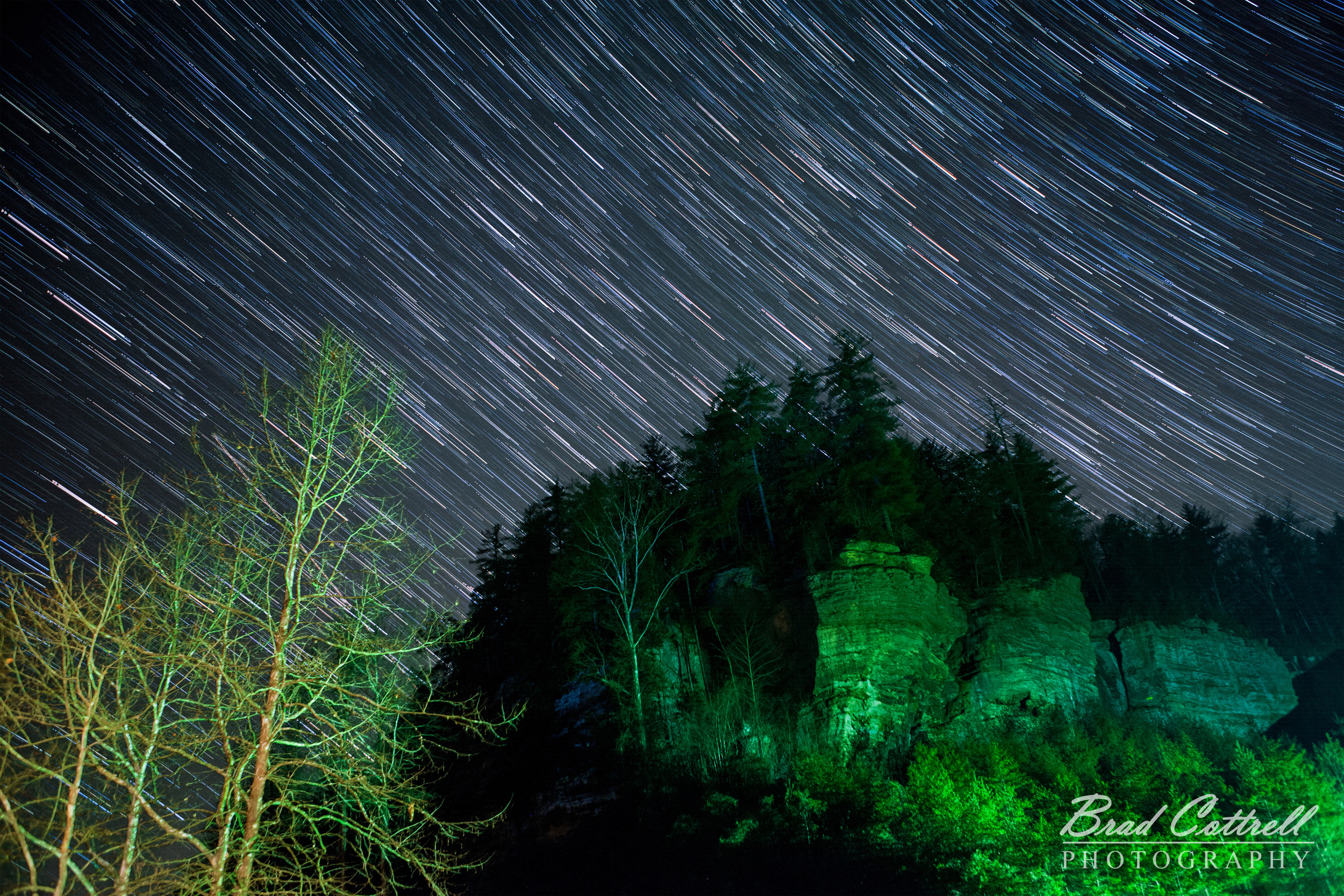 Star trails over Red River Gorge