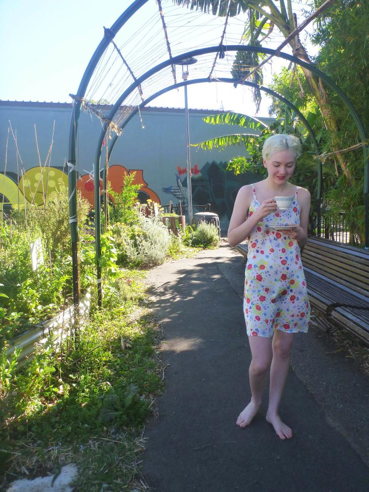 community garden; watercolor flowers on silk