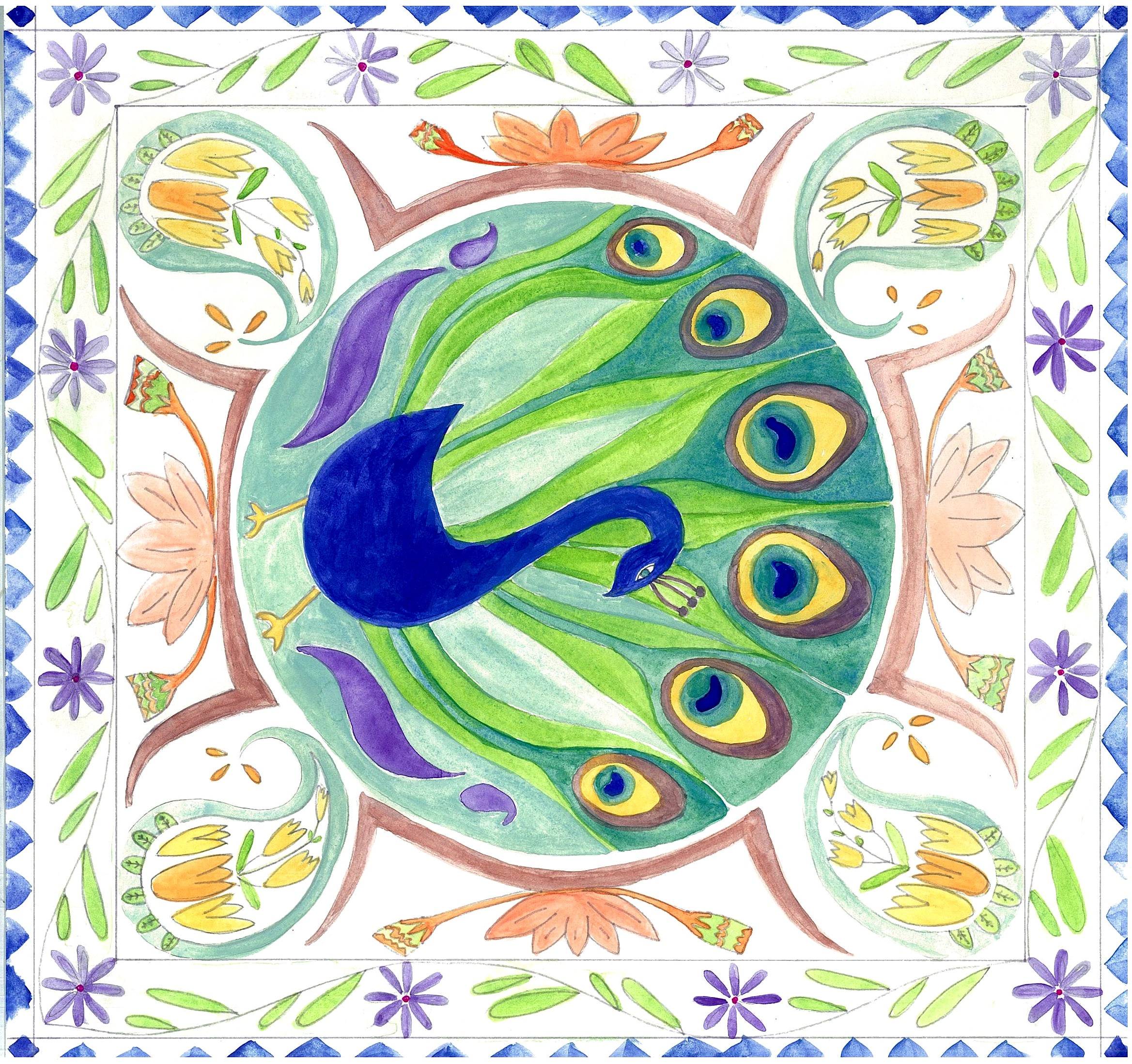 peacock mandala for scarf or cushion