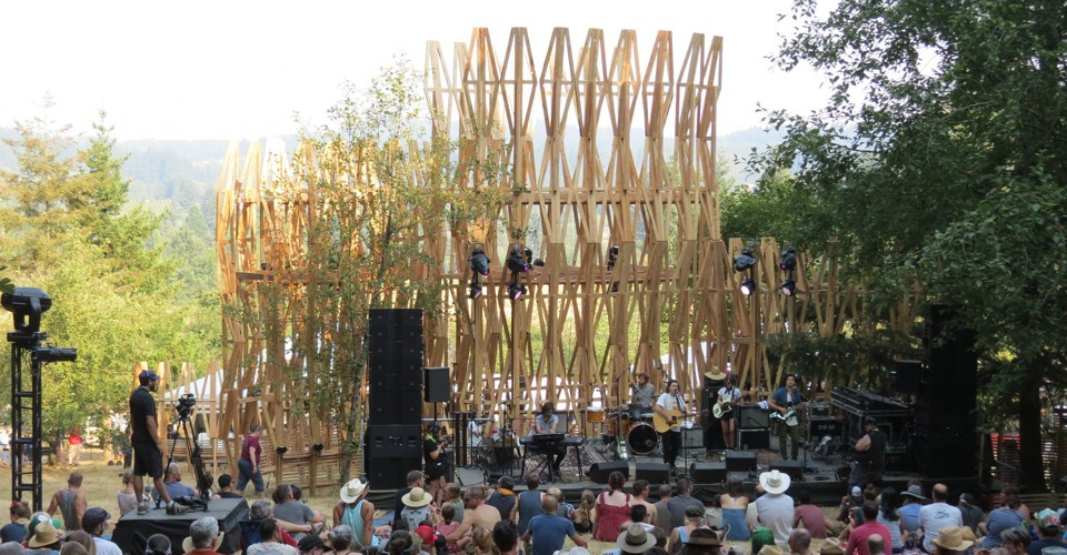 The Treeline Stage at Pickathon Music Festival that will re-purpose the trusses for the vet village.  For more info click here .
