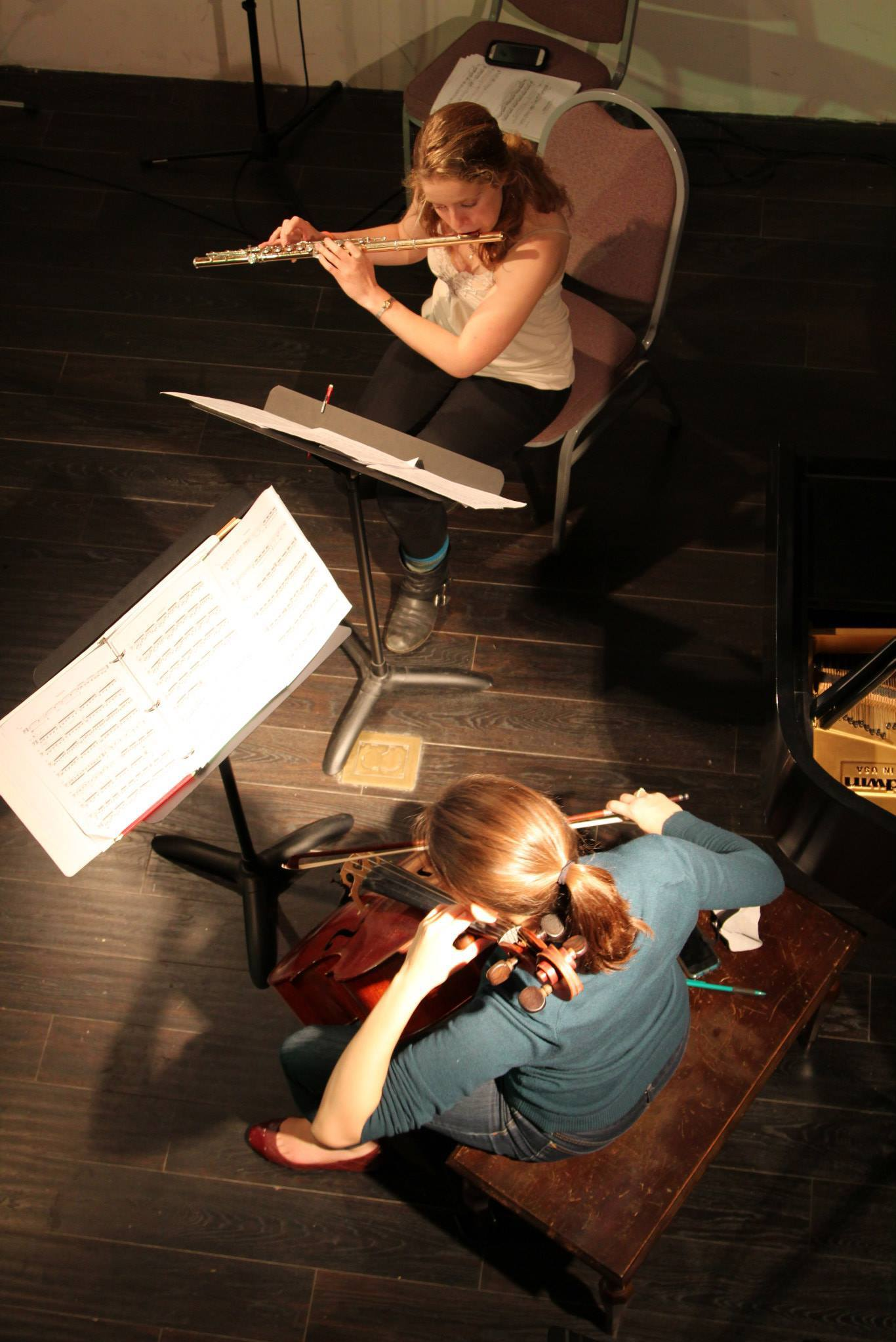 """Rehearsing George Crumb's iconic """"Voice of the Whale"""" with Phonochrome. May 2014."""
