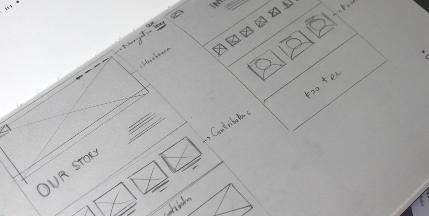 Detailed view of the initial website sketches