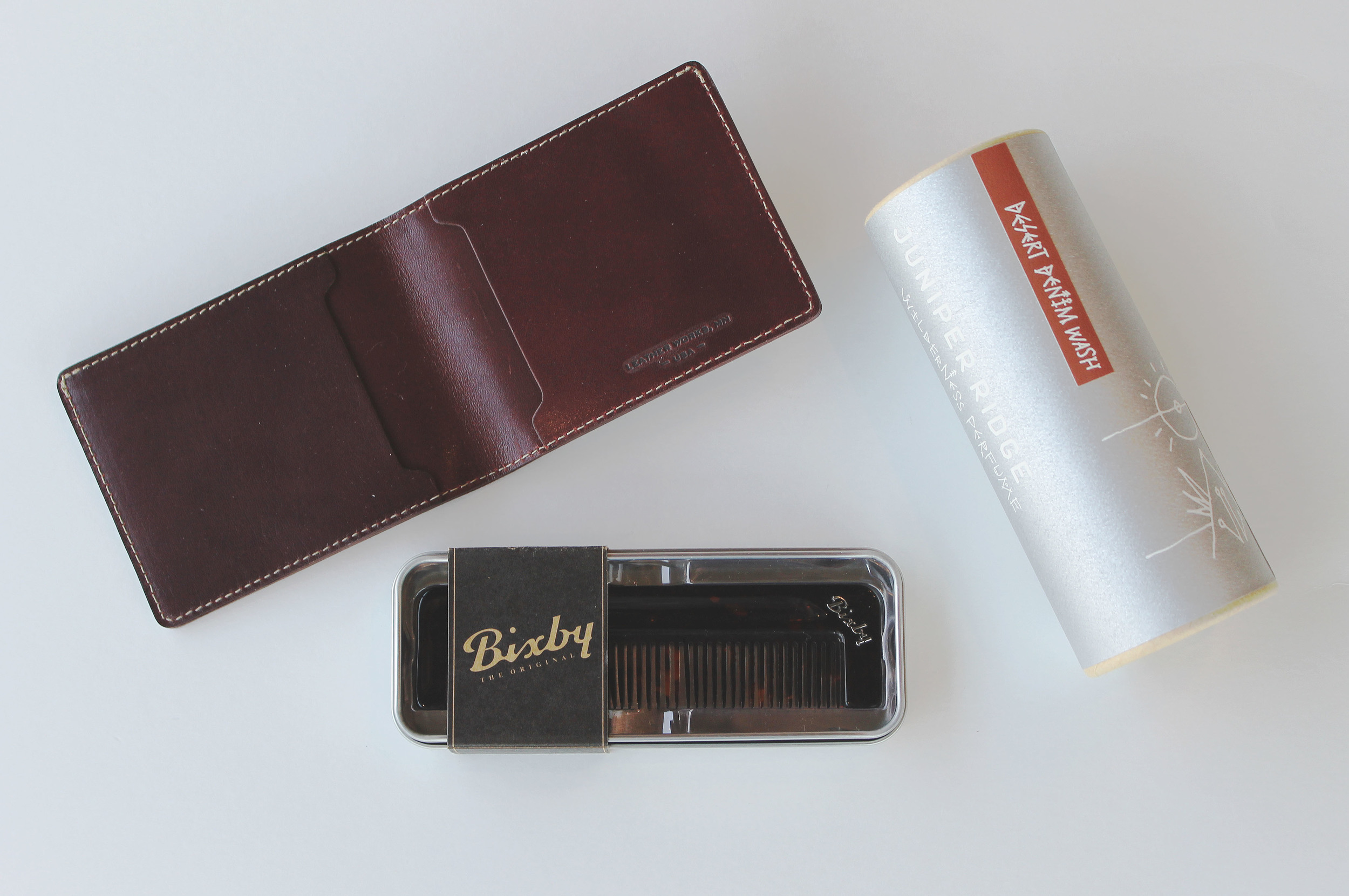 Dad's Wallet  +  Pocket Comb  +  Desert Denim Wash    For the well-coiffed, raw denim wearing dads out there.