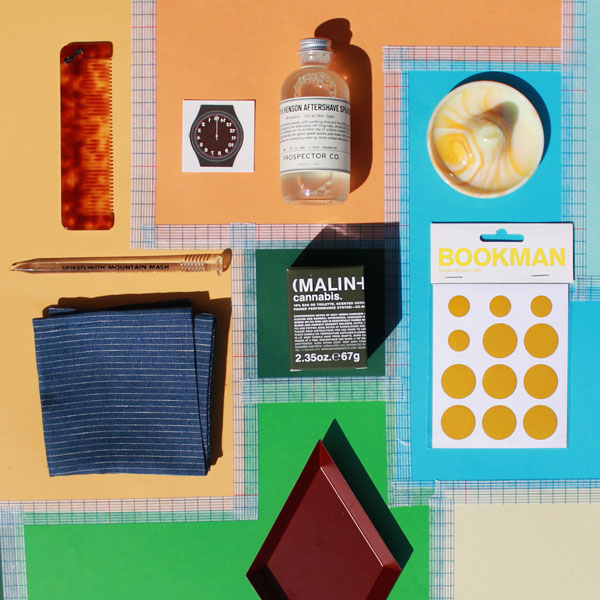 Bixby Combs  |  Indigo Stripe Linen Handkerchief  |  '15 Minutes of Fame' Temporary Tattoo  |  Peary & Henson Aftershave Splash  |  Malin & Goetz Votive  |  Bookman Sticky Dot Bike Reflector Stickers  |  Kaleido Tray by HAY  | Vintage Items